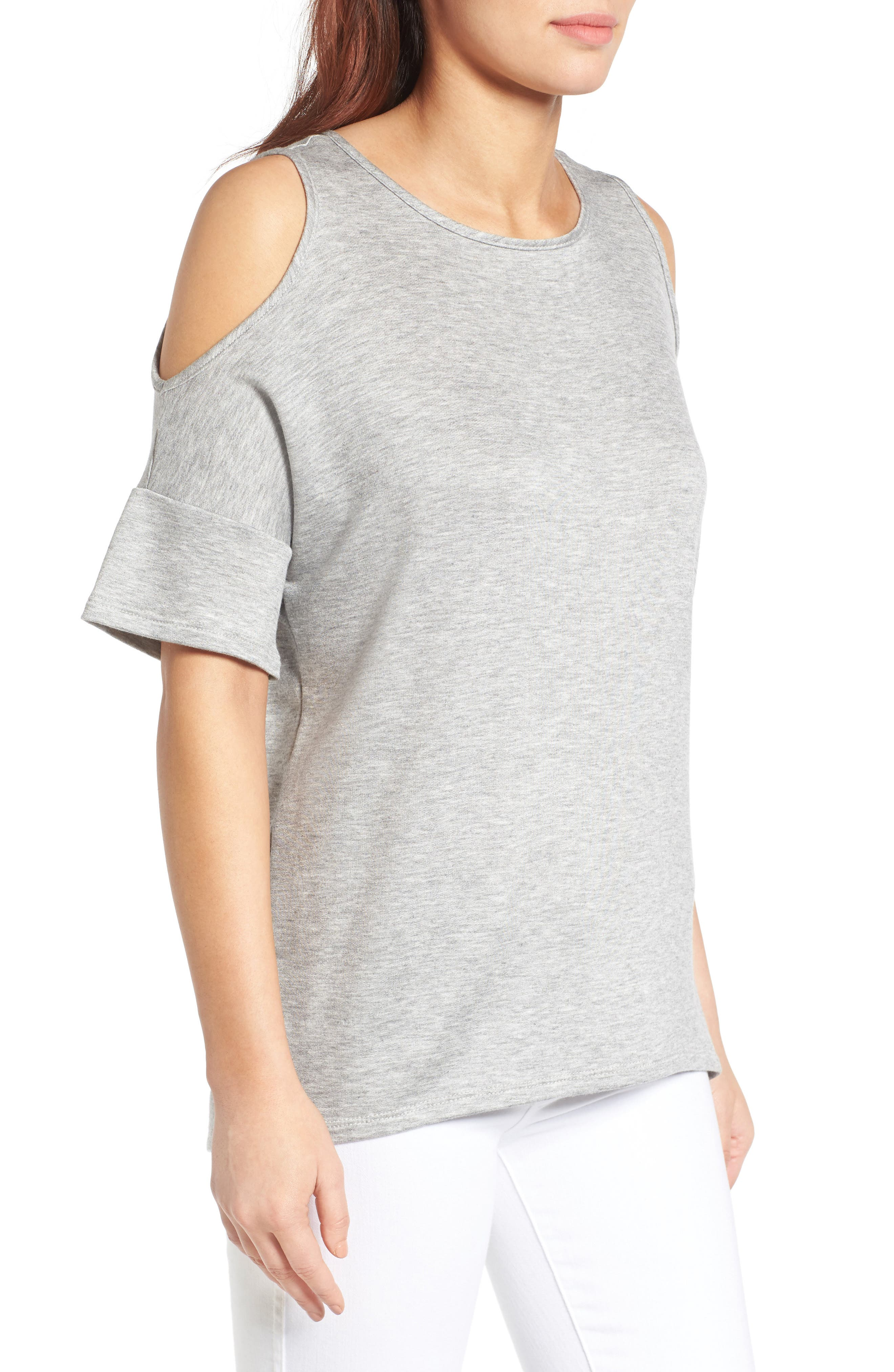 High/Low Cold Shoulder Sweatshirt,                             Alternate thumbnail 9, color,