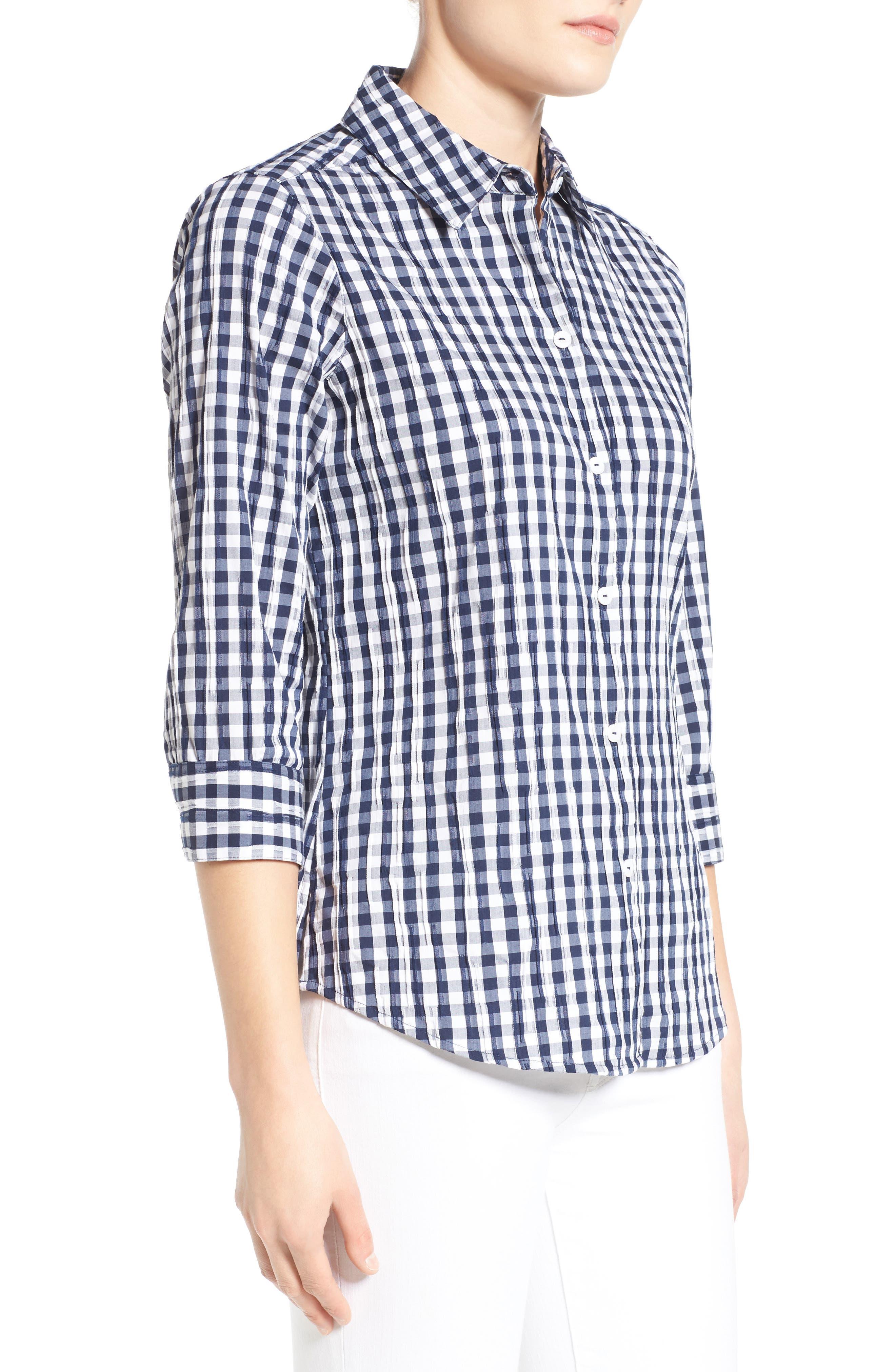Crinkled Gingham Shirt,                             Alternate thumbnail 11, color,