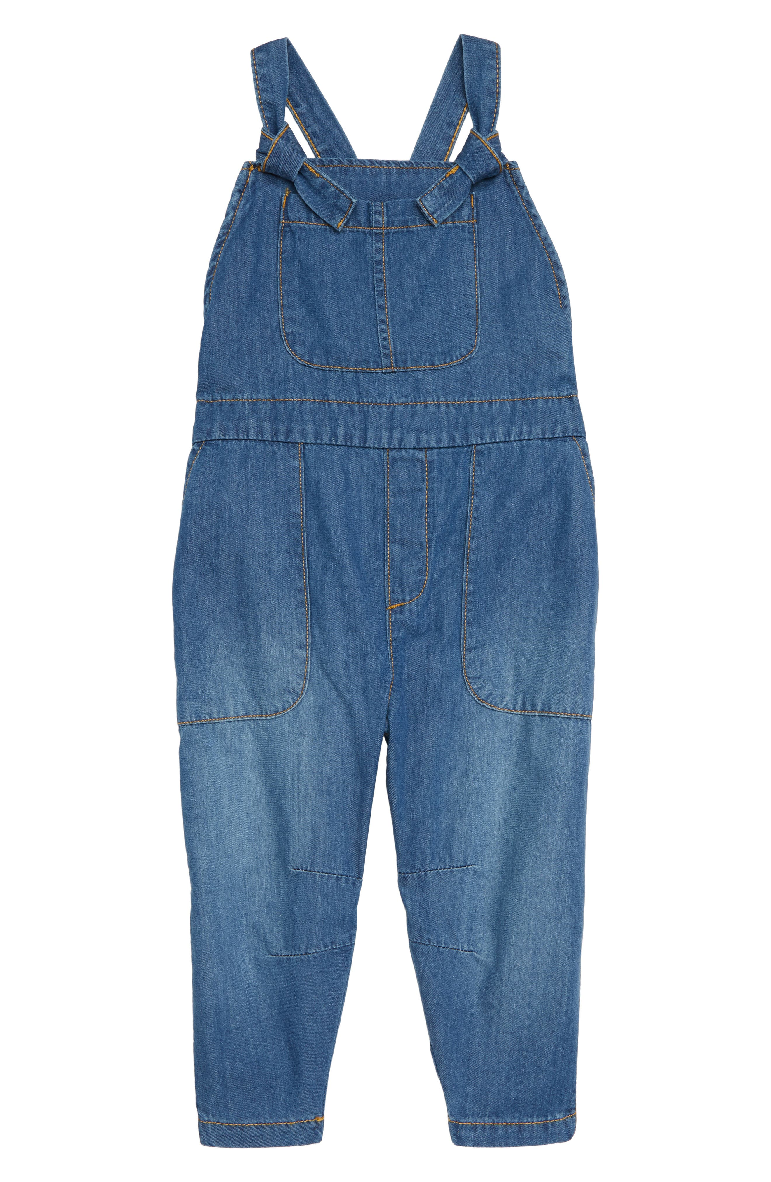 Denim Overalls,                         Main,                         color, BLUE BOW WASH
