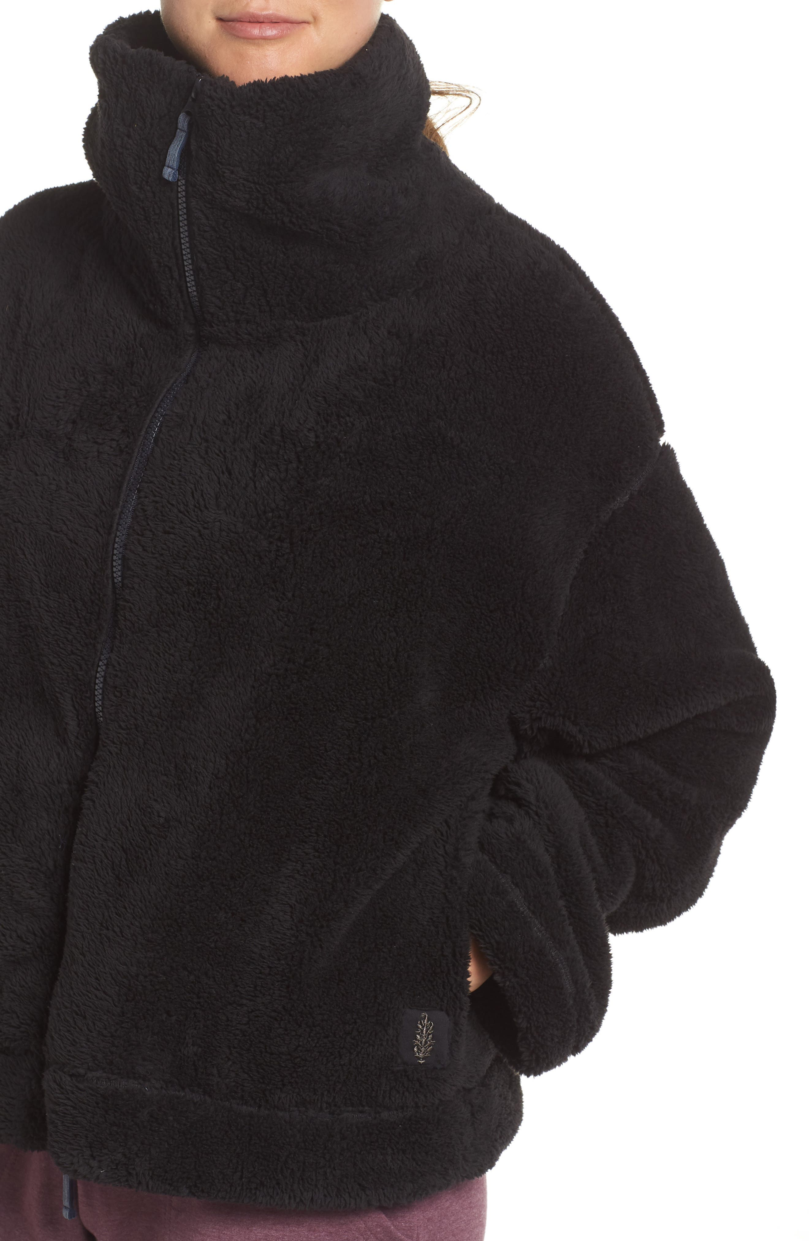 Dazed Fleece Jacket,                             Alternate thumbnail 4, color,                             BLACK
