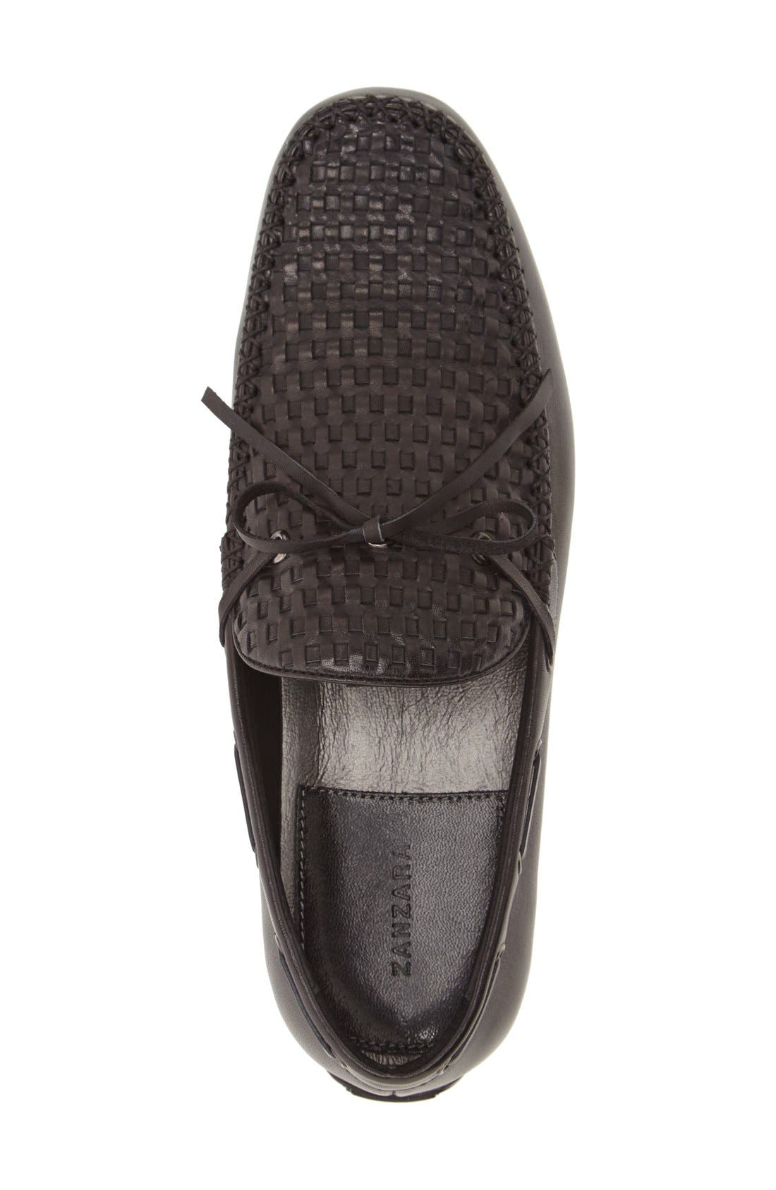 'Cezanne' Woven Tie Loafer,                             Alternate thumbnail 3, color,                             BLACK