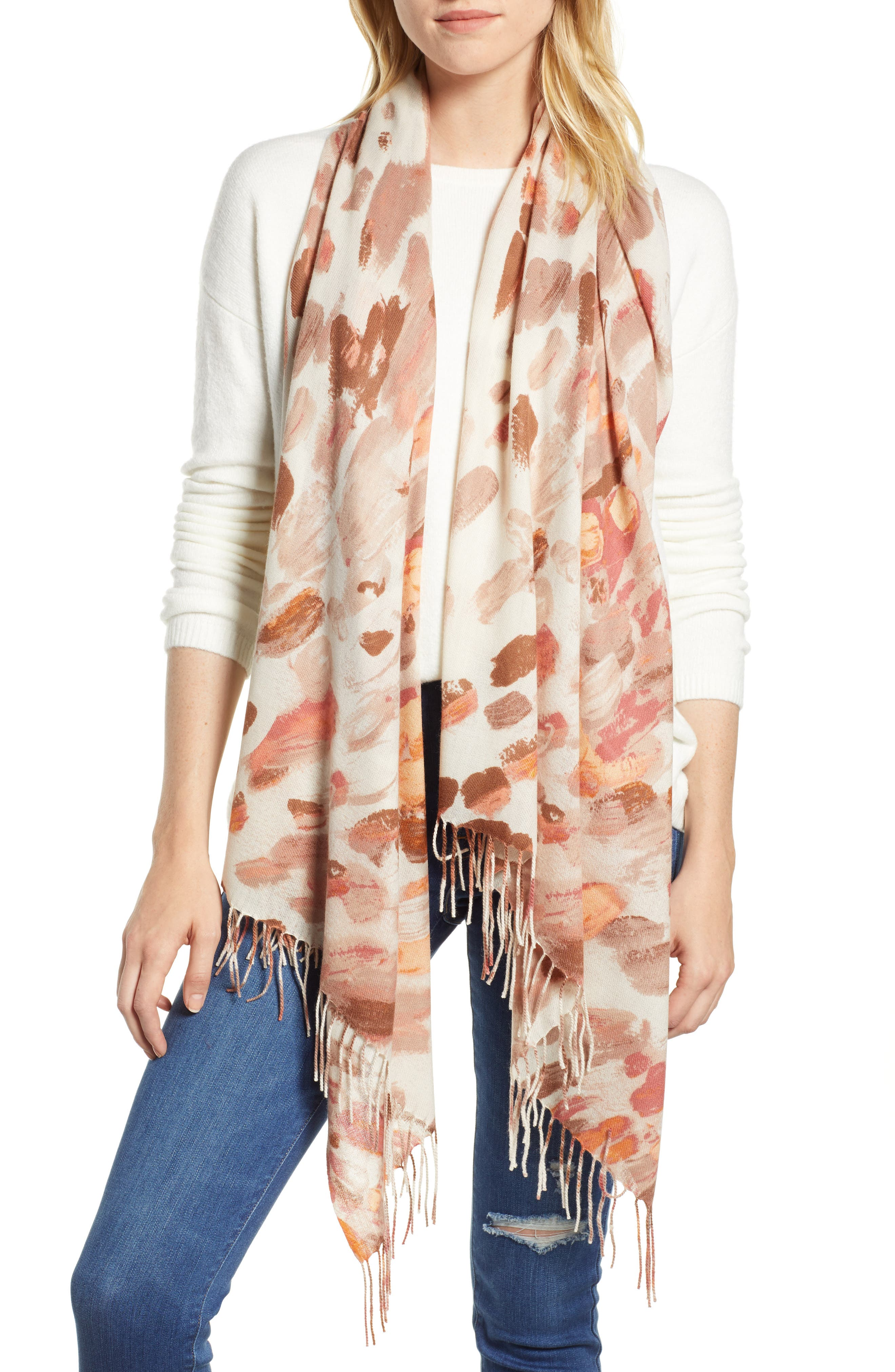 Tissue Print Wool & Cashmere Wrap Scarf,                             Main thumbnail 5, color,