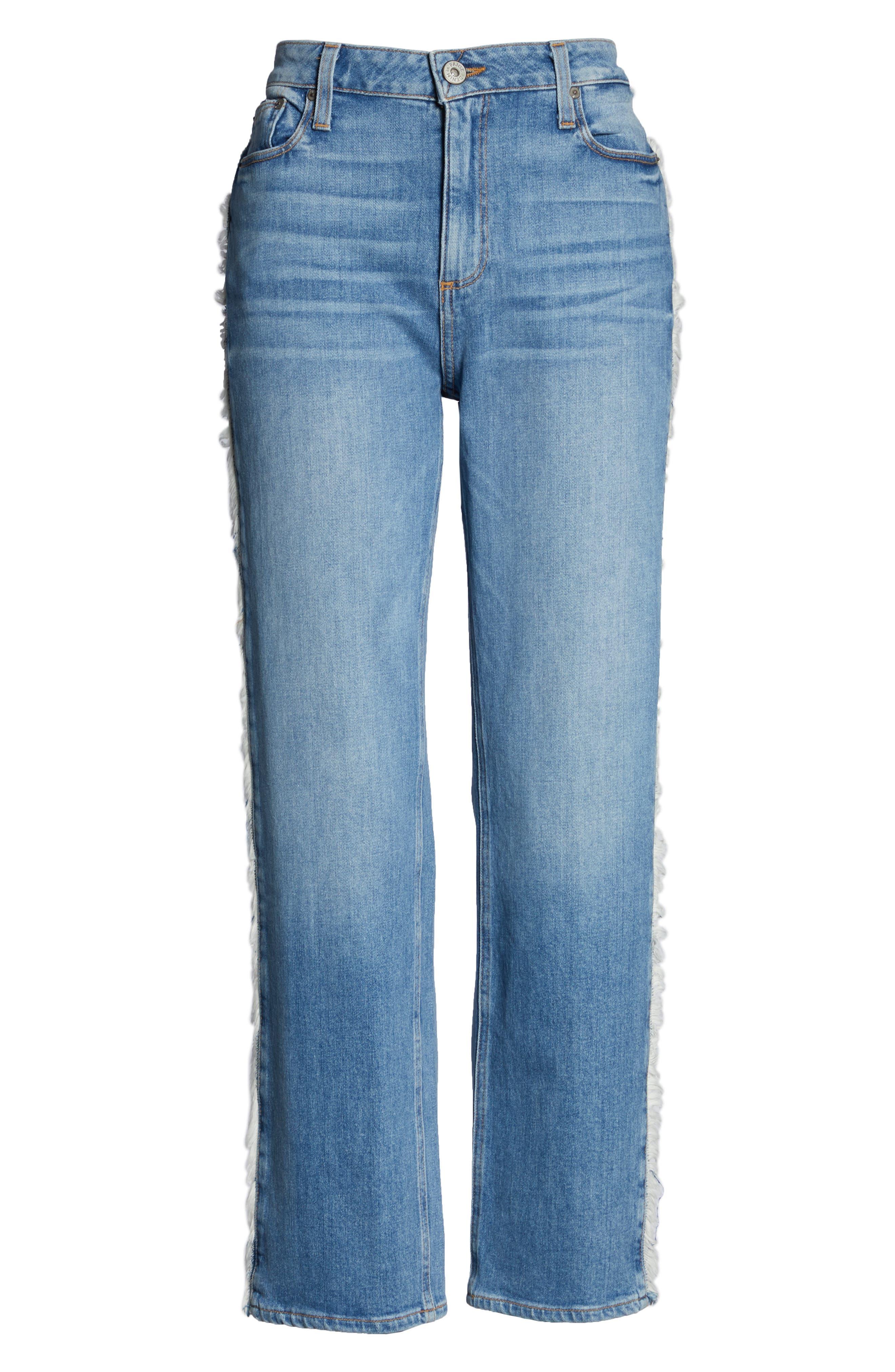 Noella Frayed Side Seam Ankle Jeans,                             Alternate thumbnail 6, color,                             BIELLA