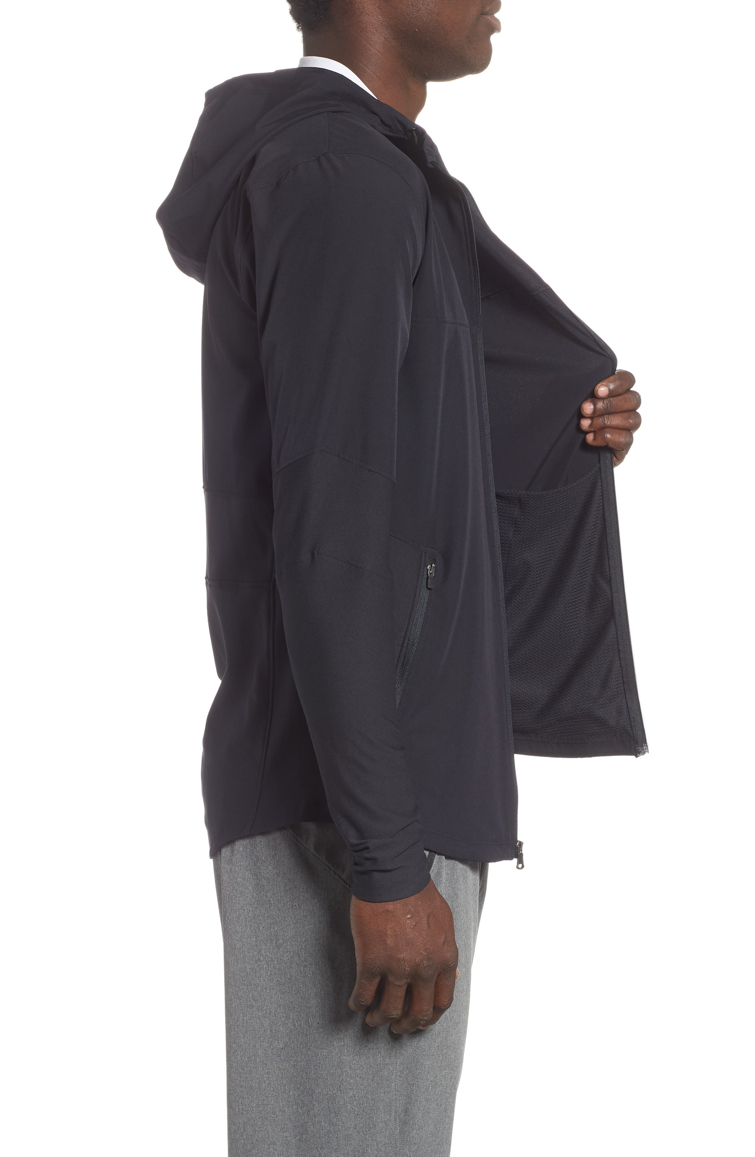 Threadborne Vanish Zip Hoodie,                             Alternate thumbnail 3, color,                             BLACK