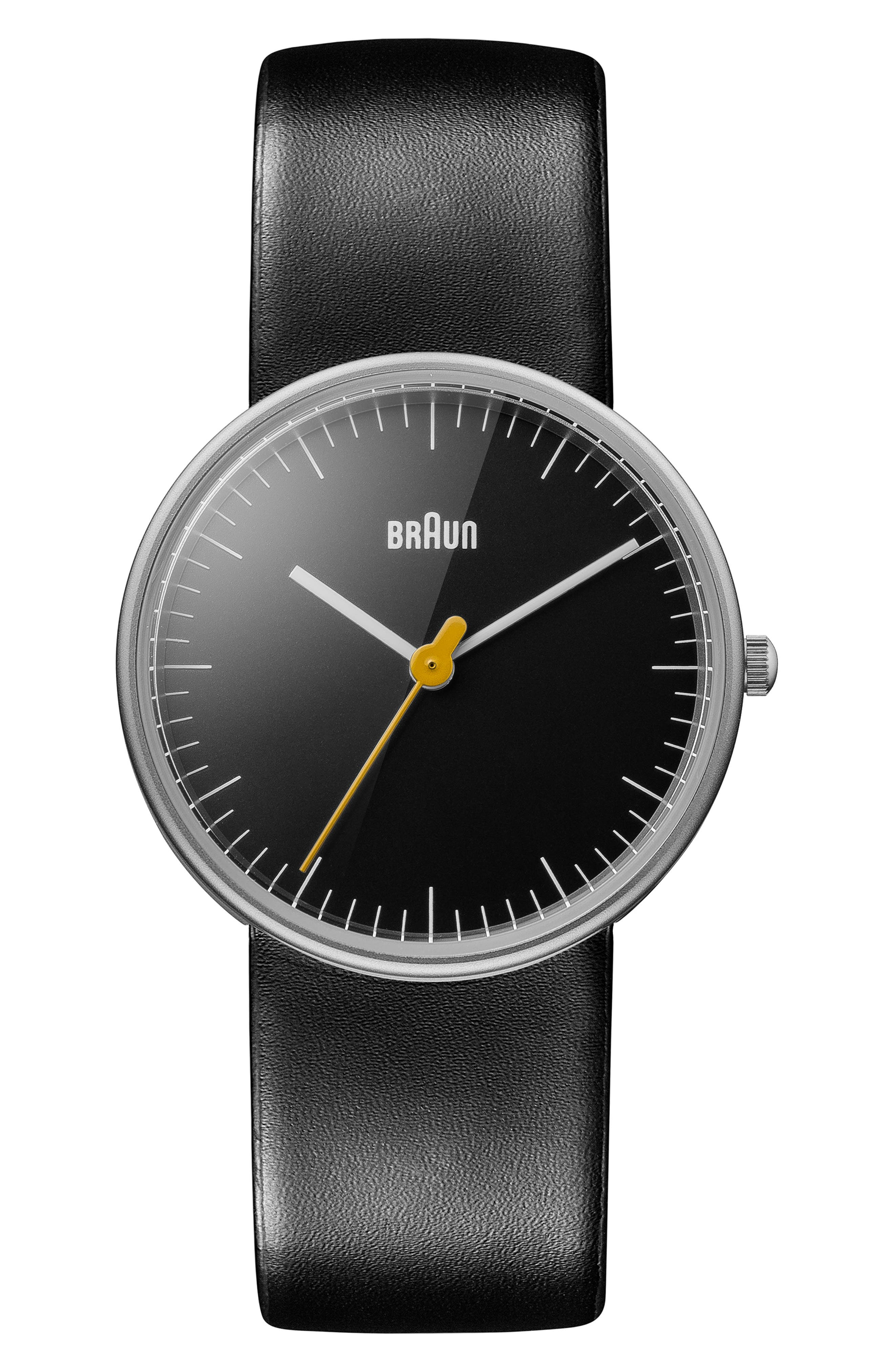 BRAUN Classic Leather Strap Watch, 31Mm in Black/ Silver