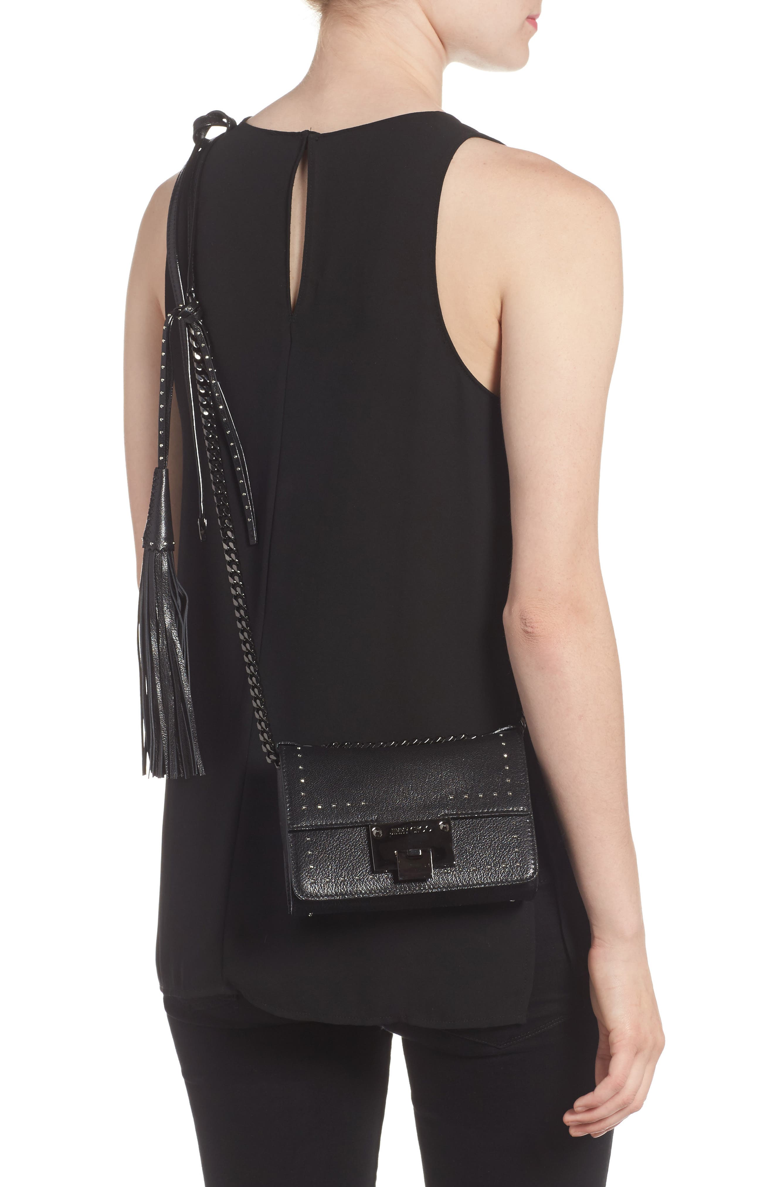 Mini Rebel Studded Leather Shoulder Bag,                             Alternate thumbnail 2, color,                             001