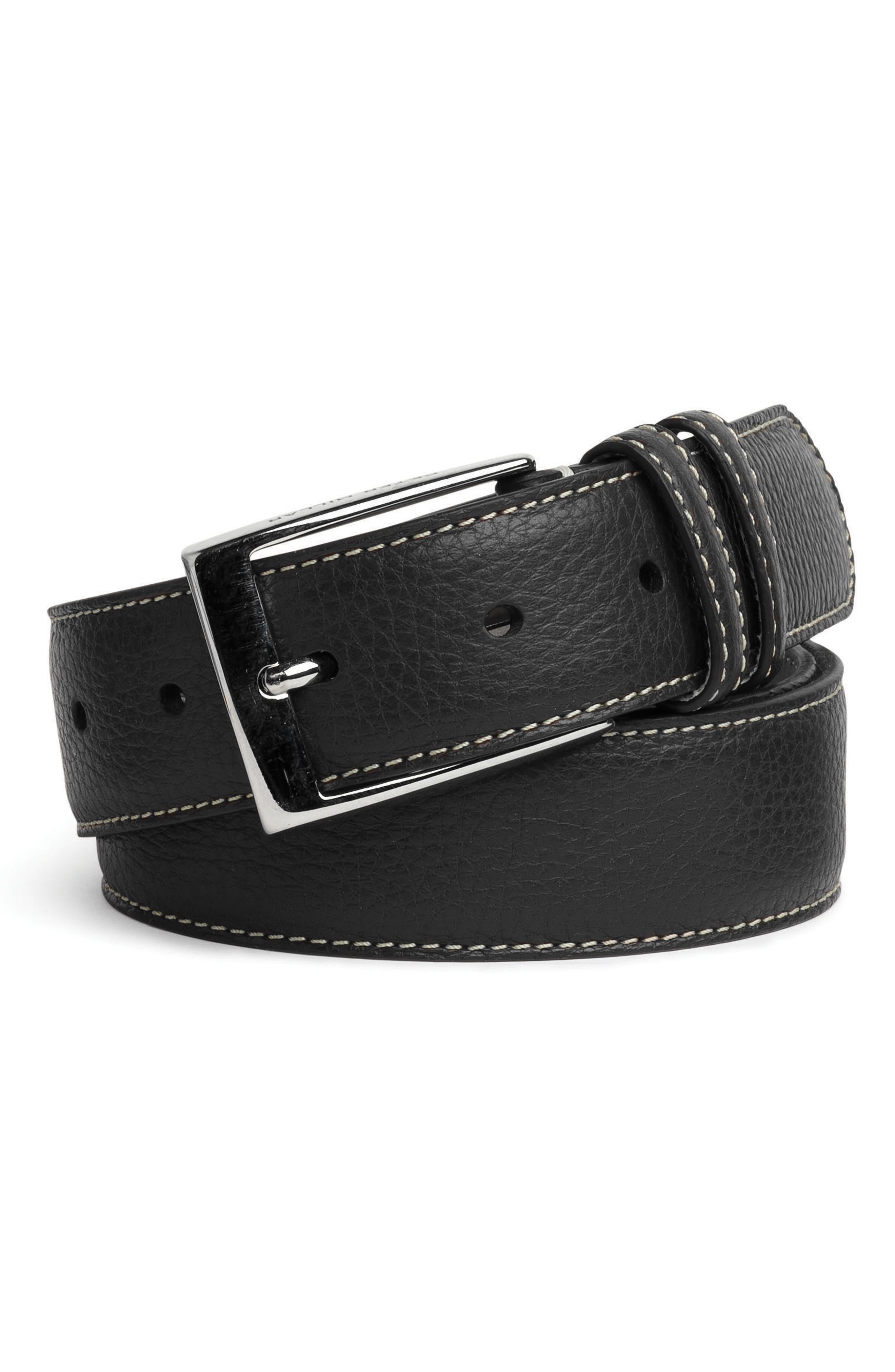 Pebbled Leather Belt,                         Main,                         color,