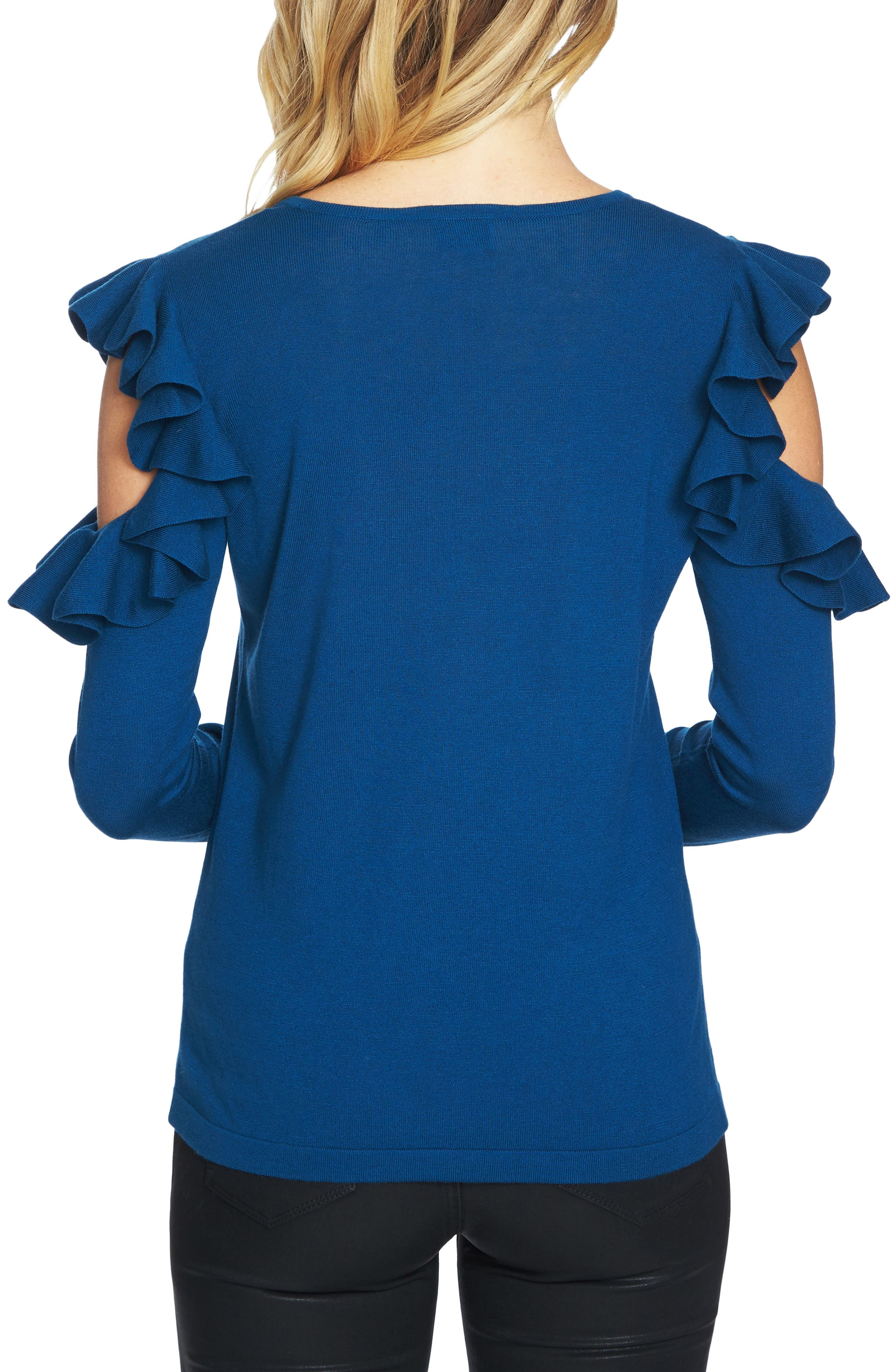 Ruffled Cold Shoulder Sweater,                             Alternate thumbnail 9, color,