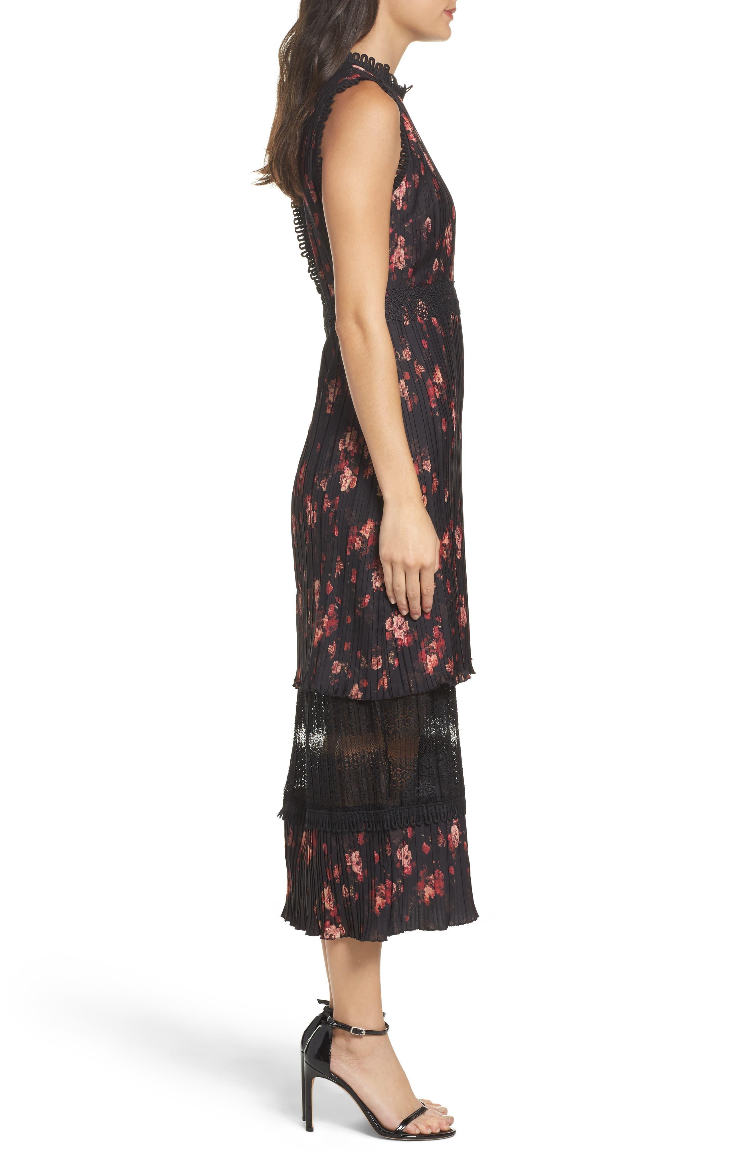 Biella Floral Midi Dress,                             Alternate thumbnail 3, color,                             016