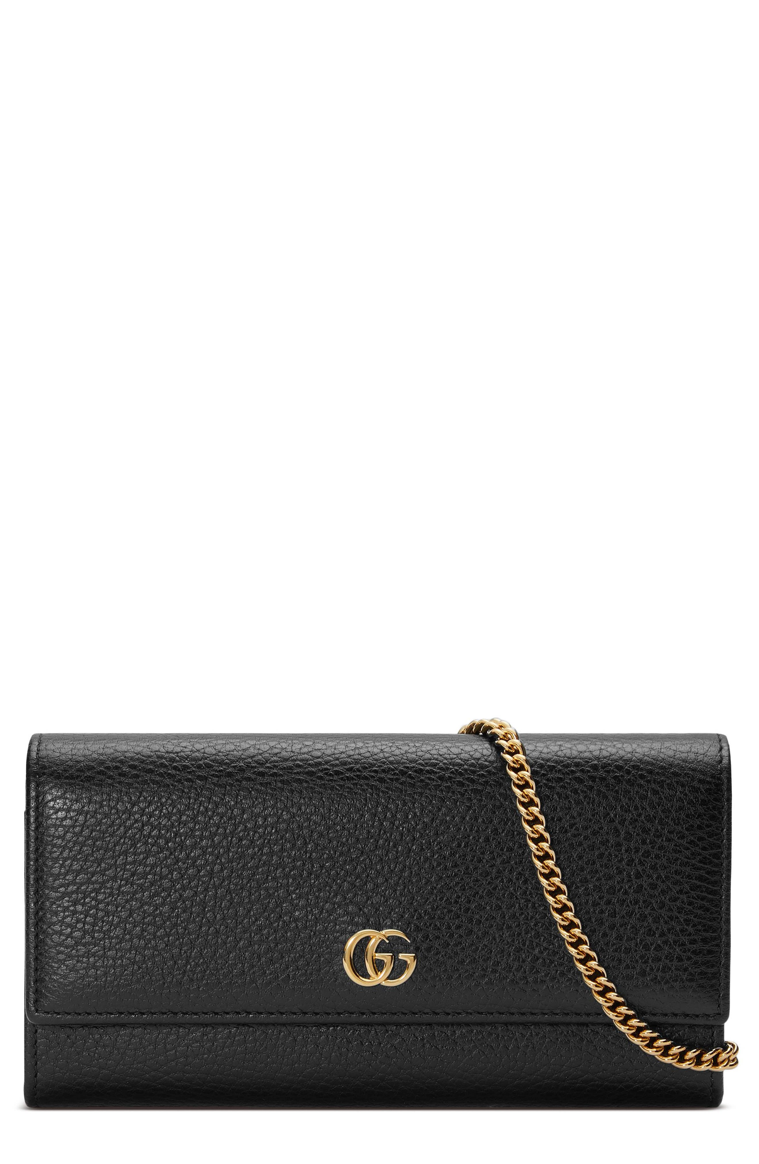 Petite Marmont Leather Continental Wallet on a Chain,                         Main,                         color, NERO