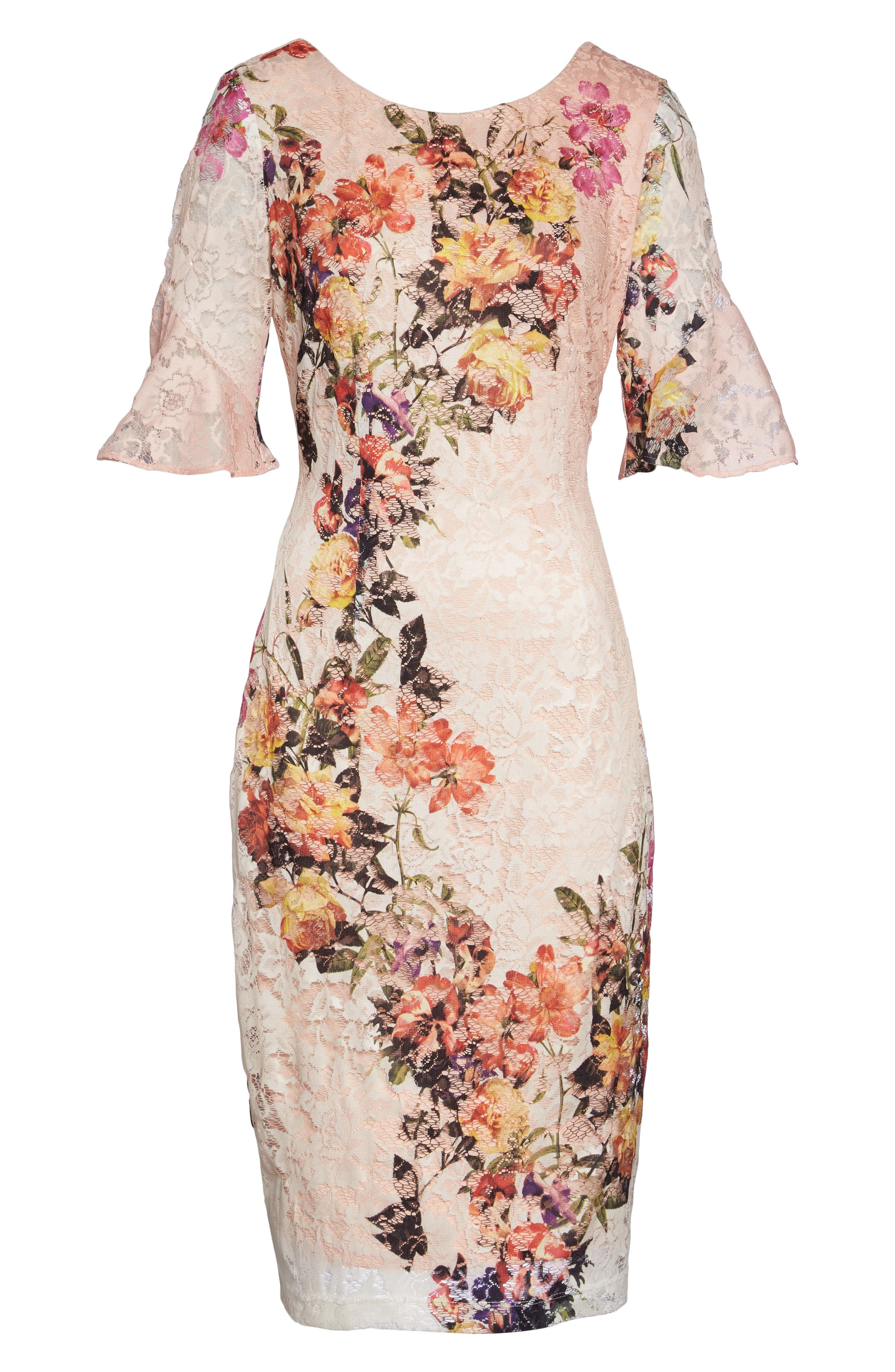 Print Lace Sheath Dress,                             Alternate thumbnail 6, color,                             950