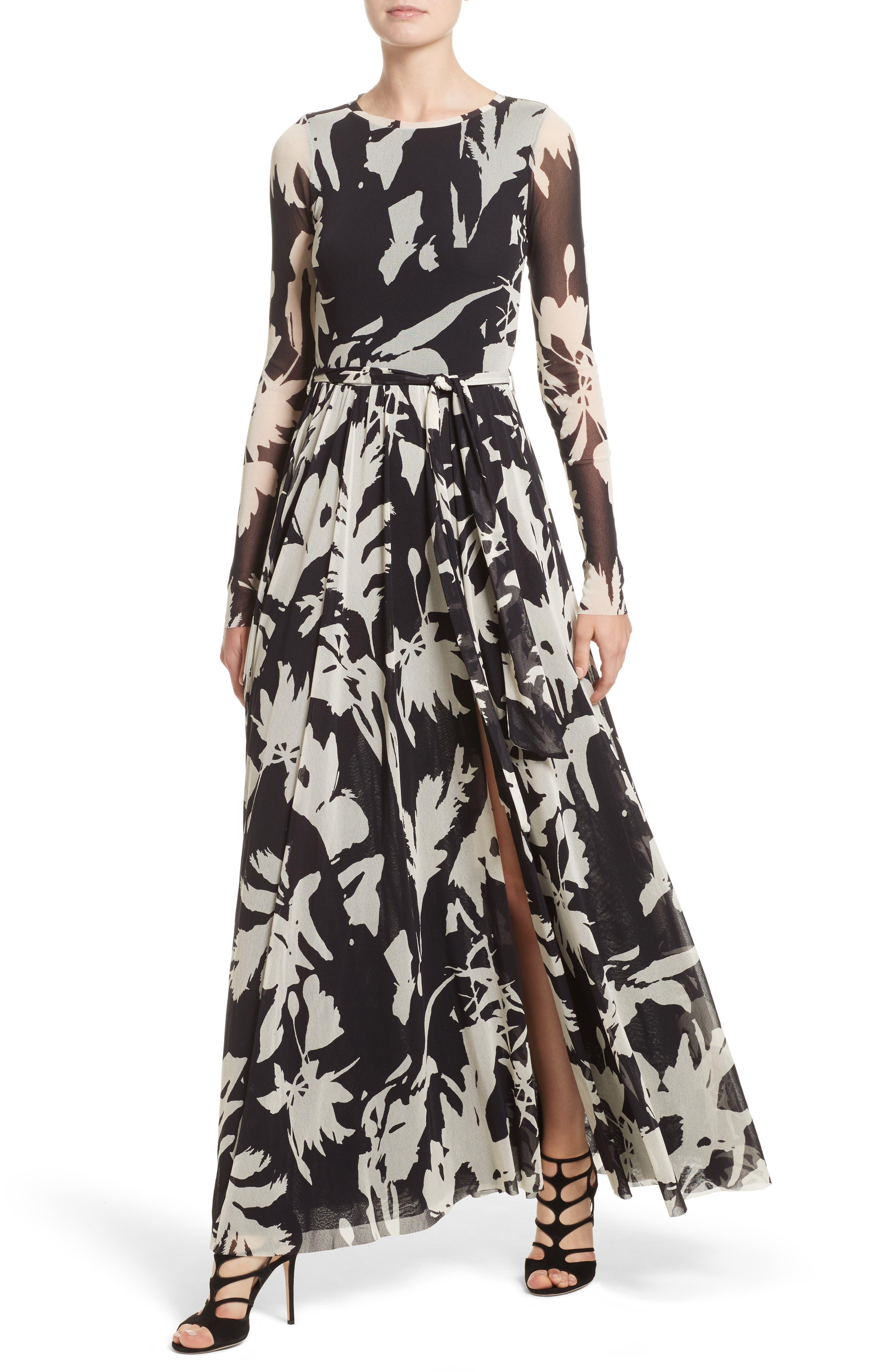 Bicolor Floral Print Tulle Maxi Dress,                             Alternate thumbnail 4, color,                             001