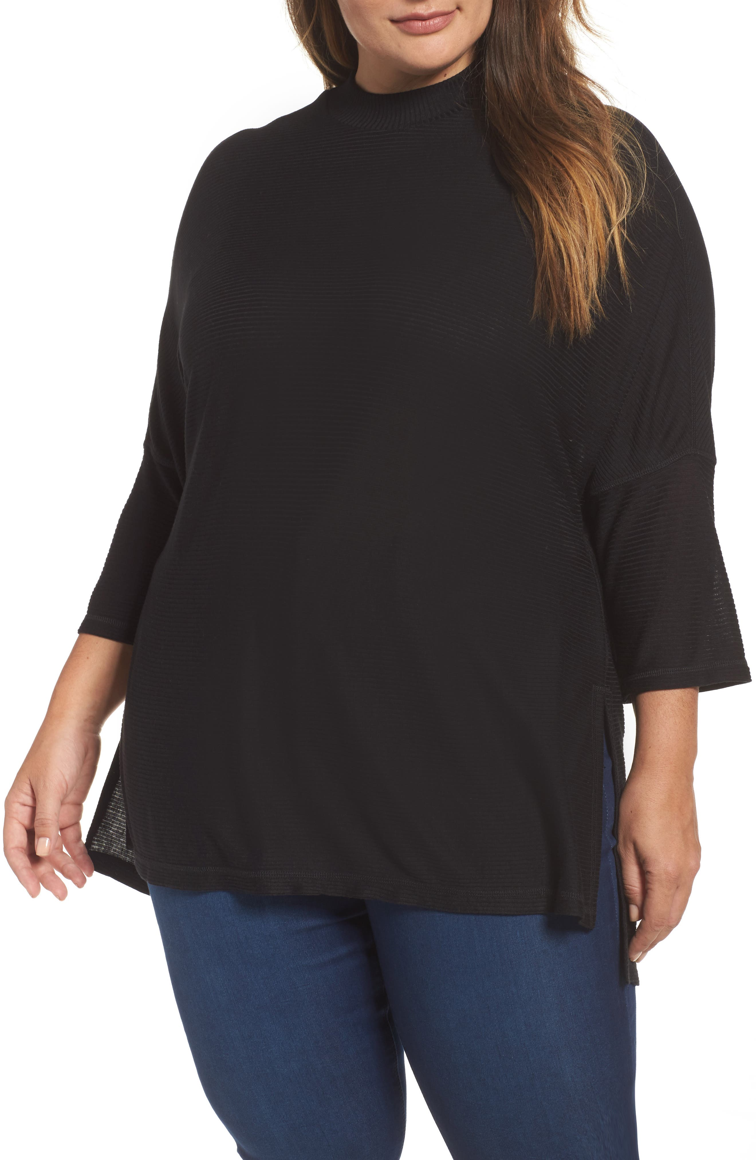 Mock Neck Rib Knit Top,                             Main thumbnail 1, color,                             001