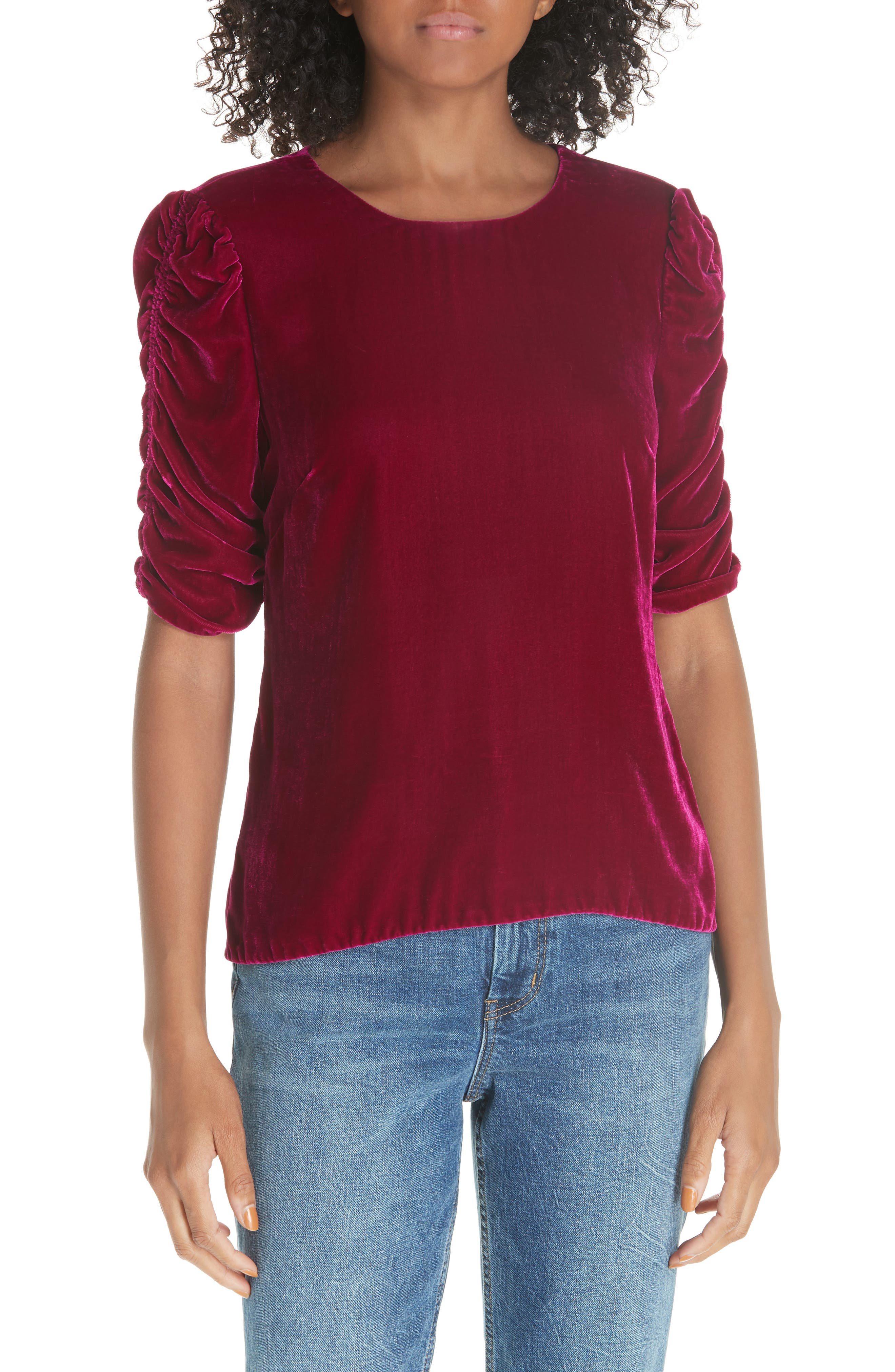 Ruched Sleeve Velvet Top,                             Main thumbnail 1, color,                             CRANBERRY