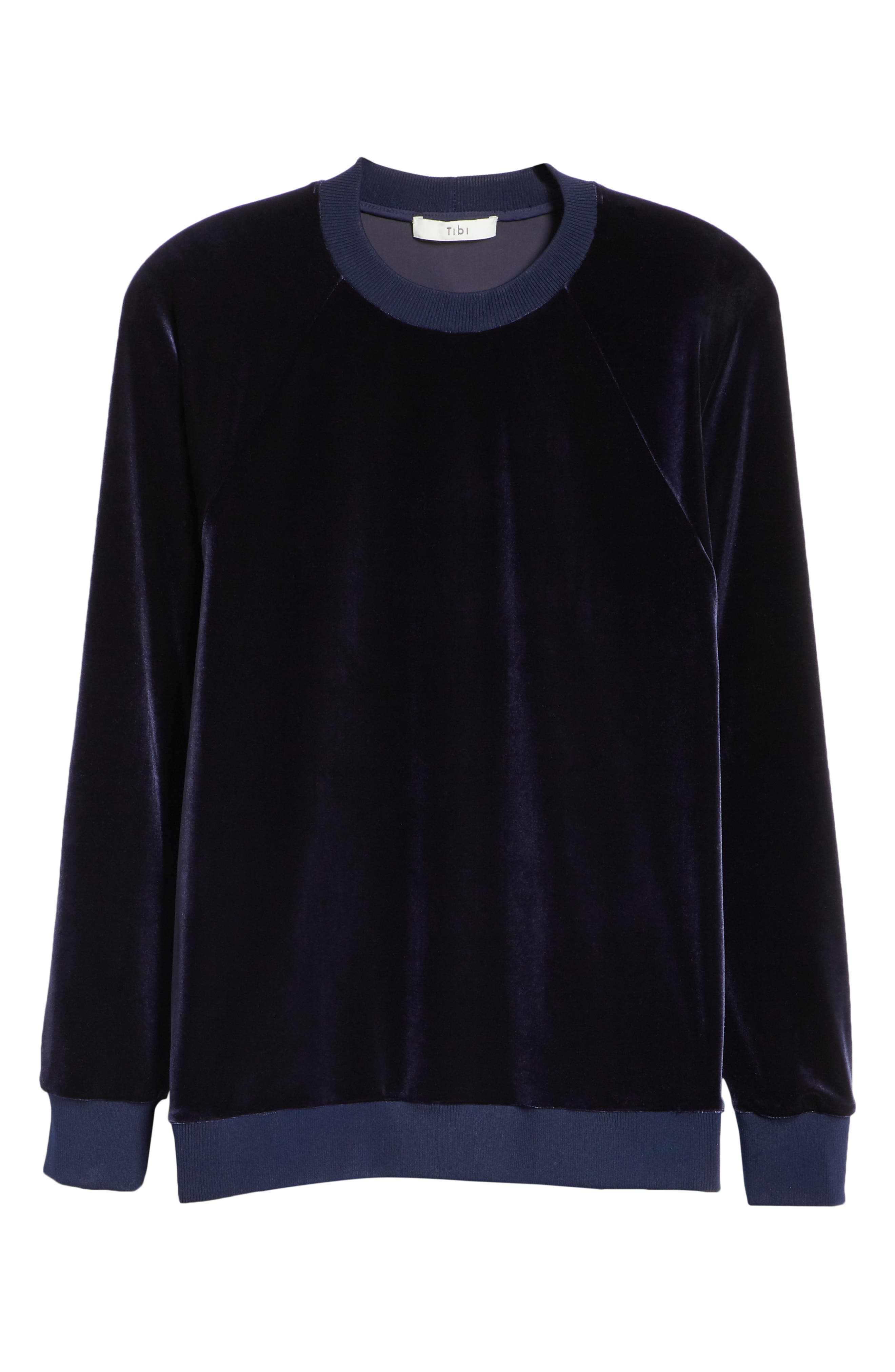 Easy Velvet Sweatshirt,                             Alternate thumbnail 6, color,                             NAVY