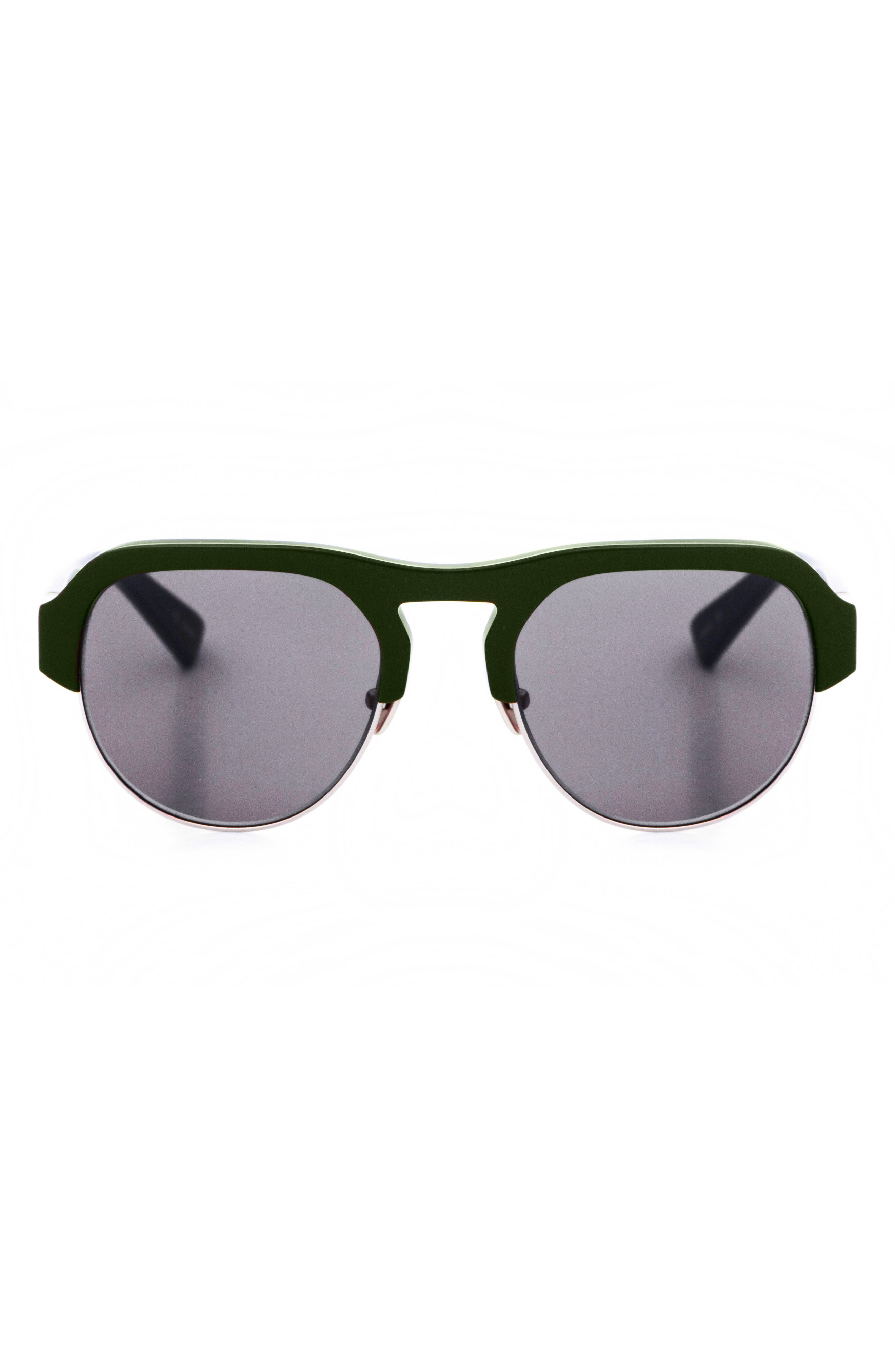 Nomad 52mm Sunglasses,                             Alternate thumbnail 3, color,                             OLIVE/ SILVER