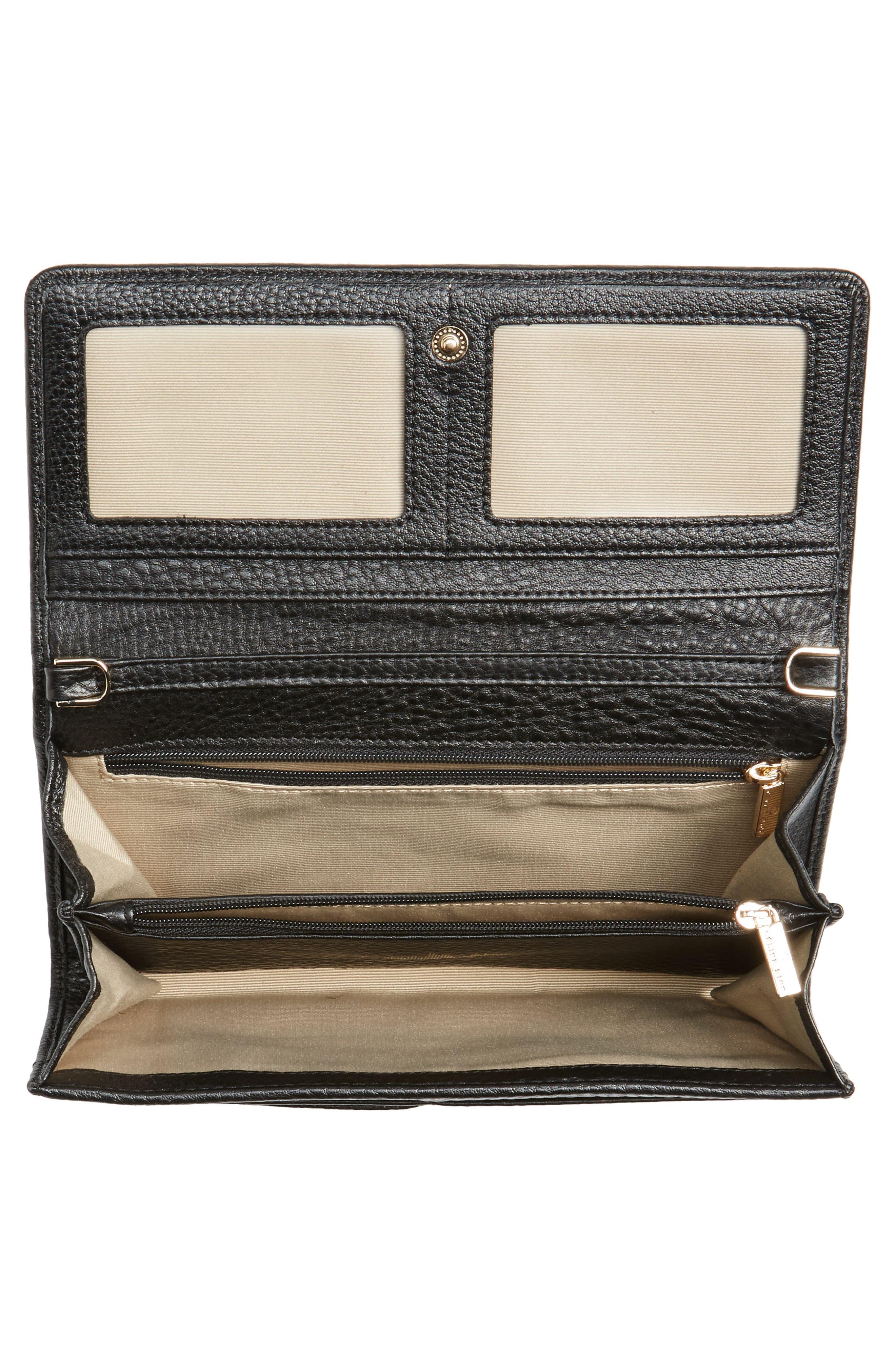 Céline Dion Adagio Leather Crossbody Wallet,                             Alternate thumbnail 5, color,                             001