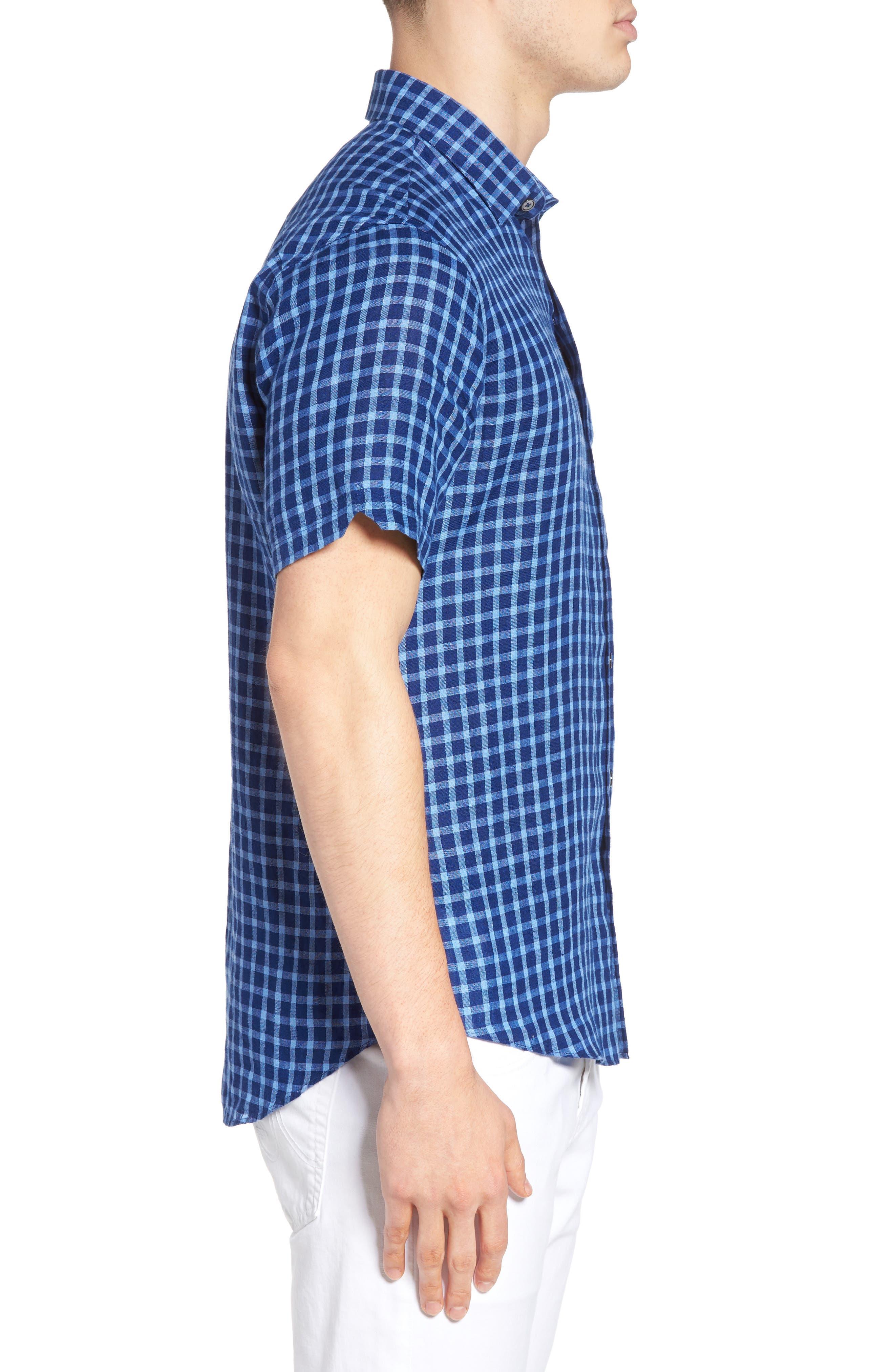 Ray Plaid Linen Sport Shirt,                             Alternate thumbnail 3, color,                             421