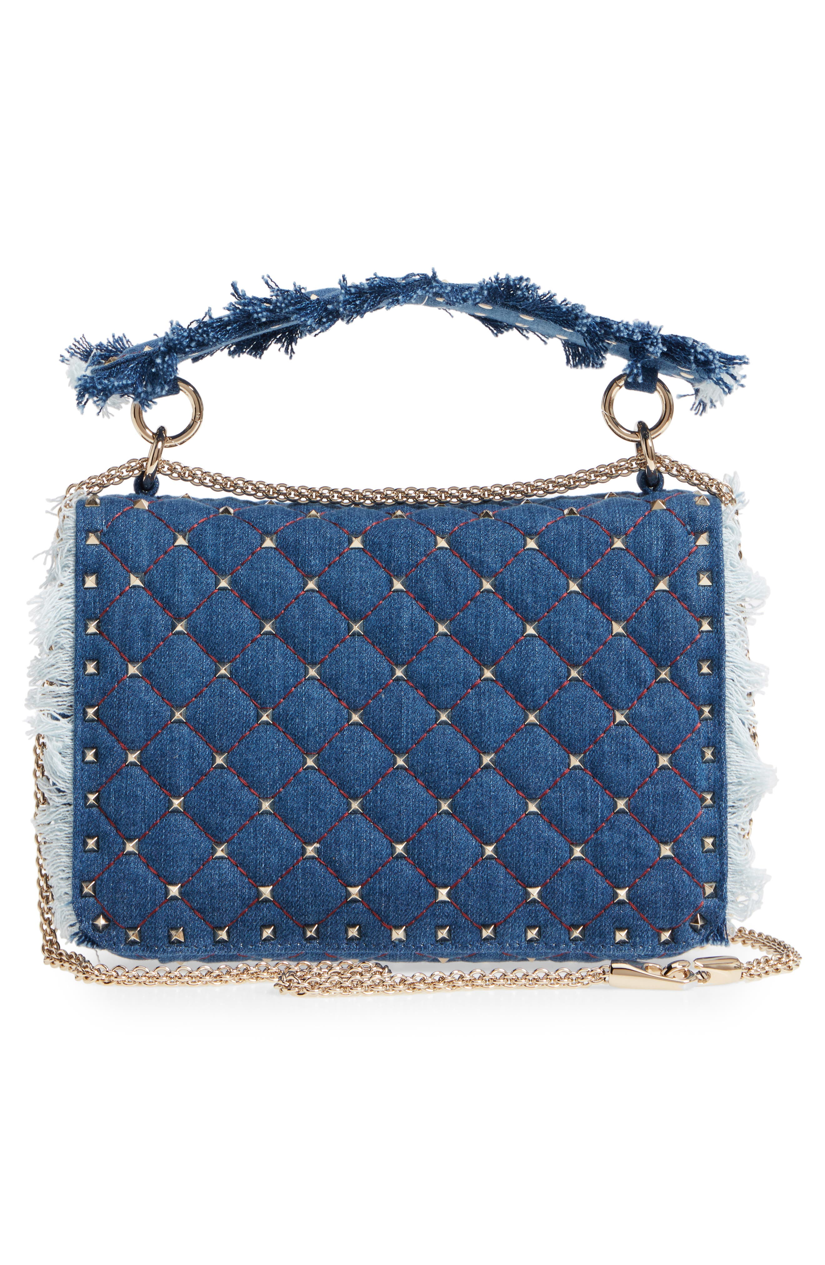 Rockstud Spike Medium Shoulder Bag,                             Alternate thumbnail 3, color,                             DENIM