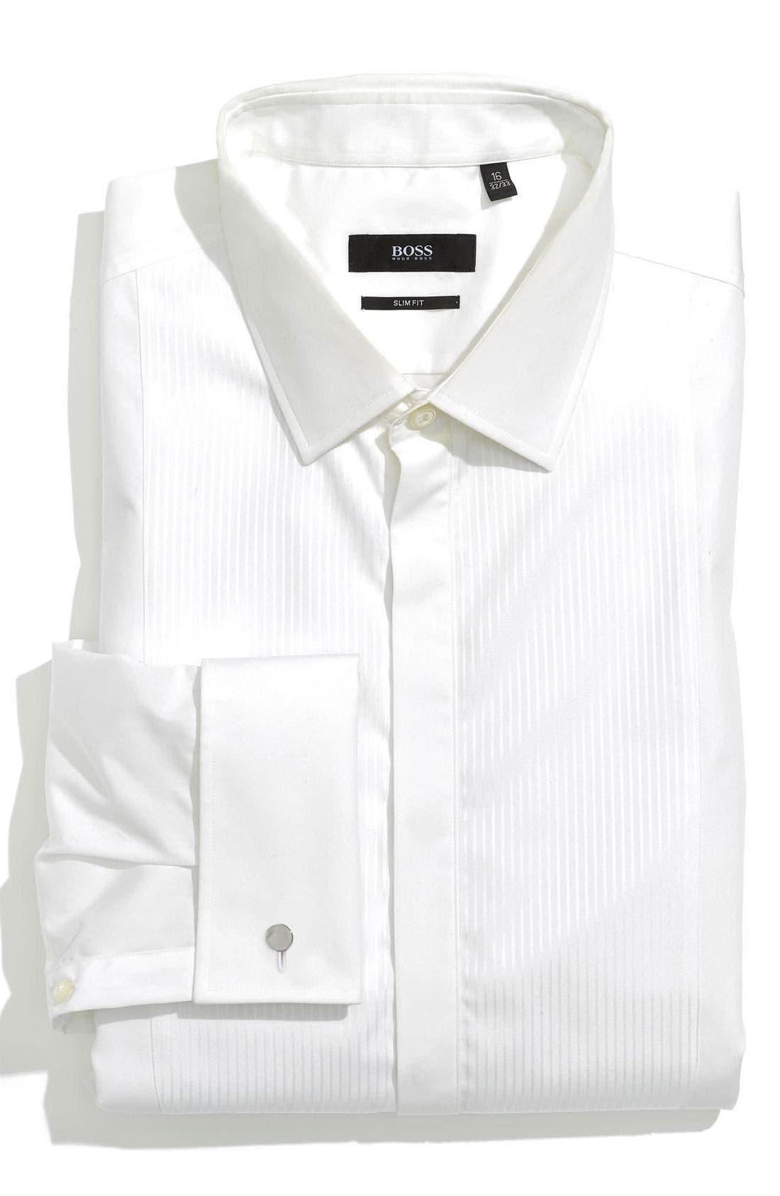 BOSS,                             HUGO BOSS 'Jason' Slim Fit Tuxedo Shirt,                             Main thumbnail 1, color,                             100