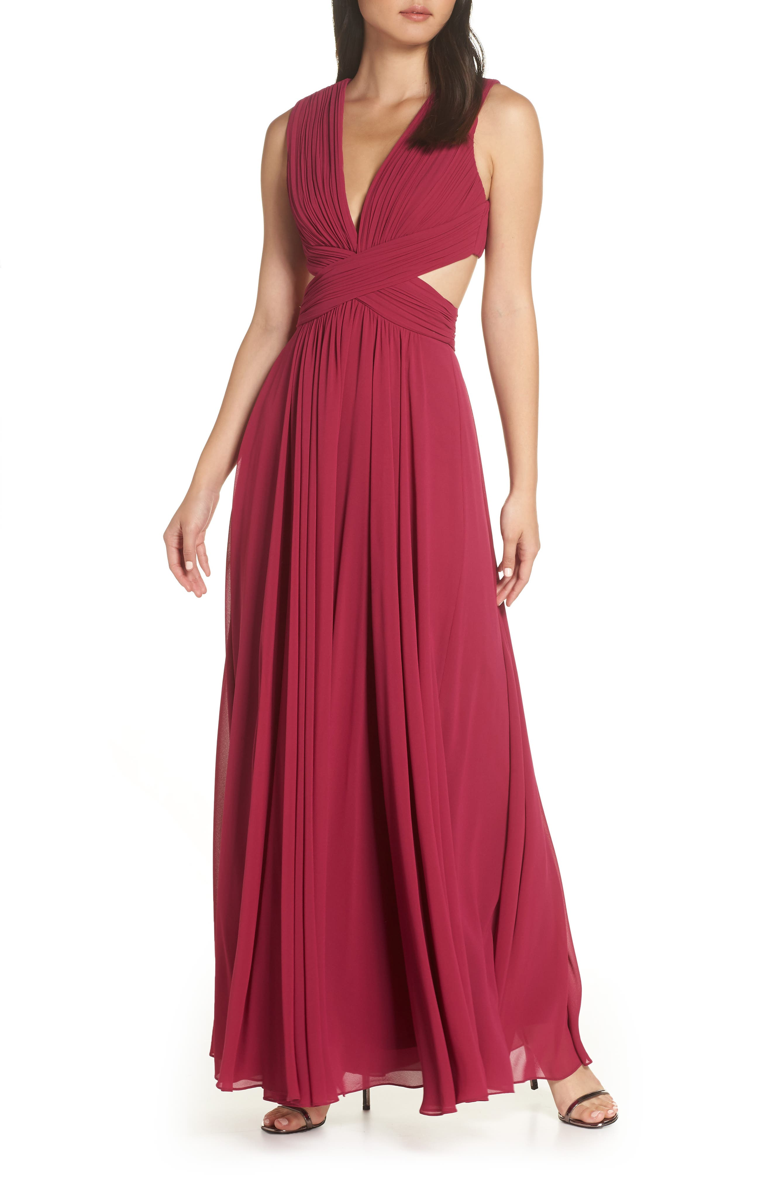 Lulus Vivid Imagination Chiffon Gown, Red