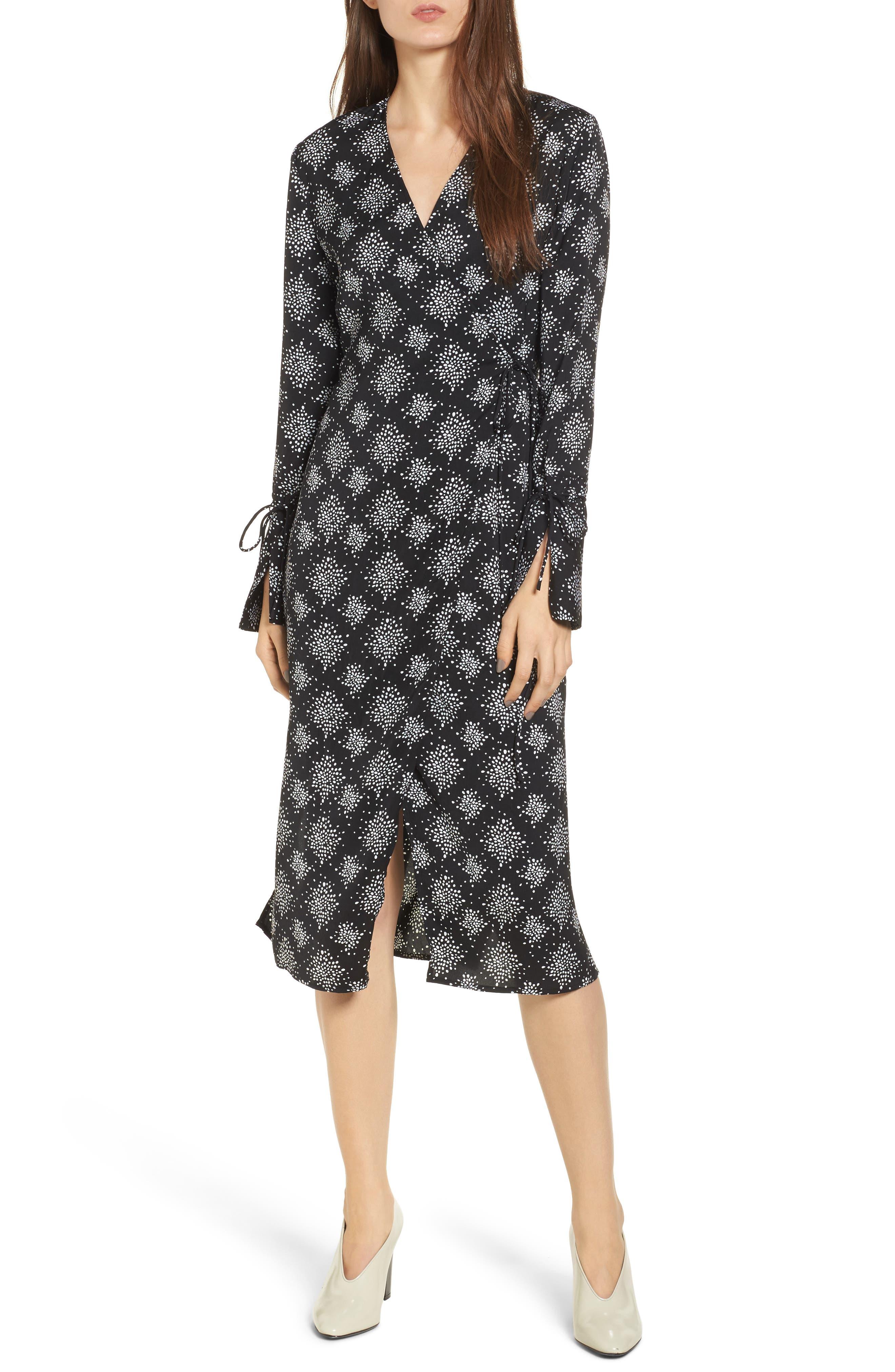 Emergent Wrap Midi Dress,                             Main thumbnail 1, color,                             002