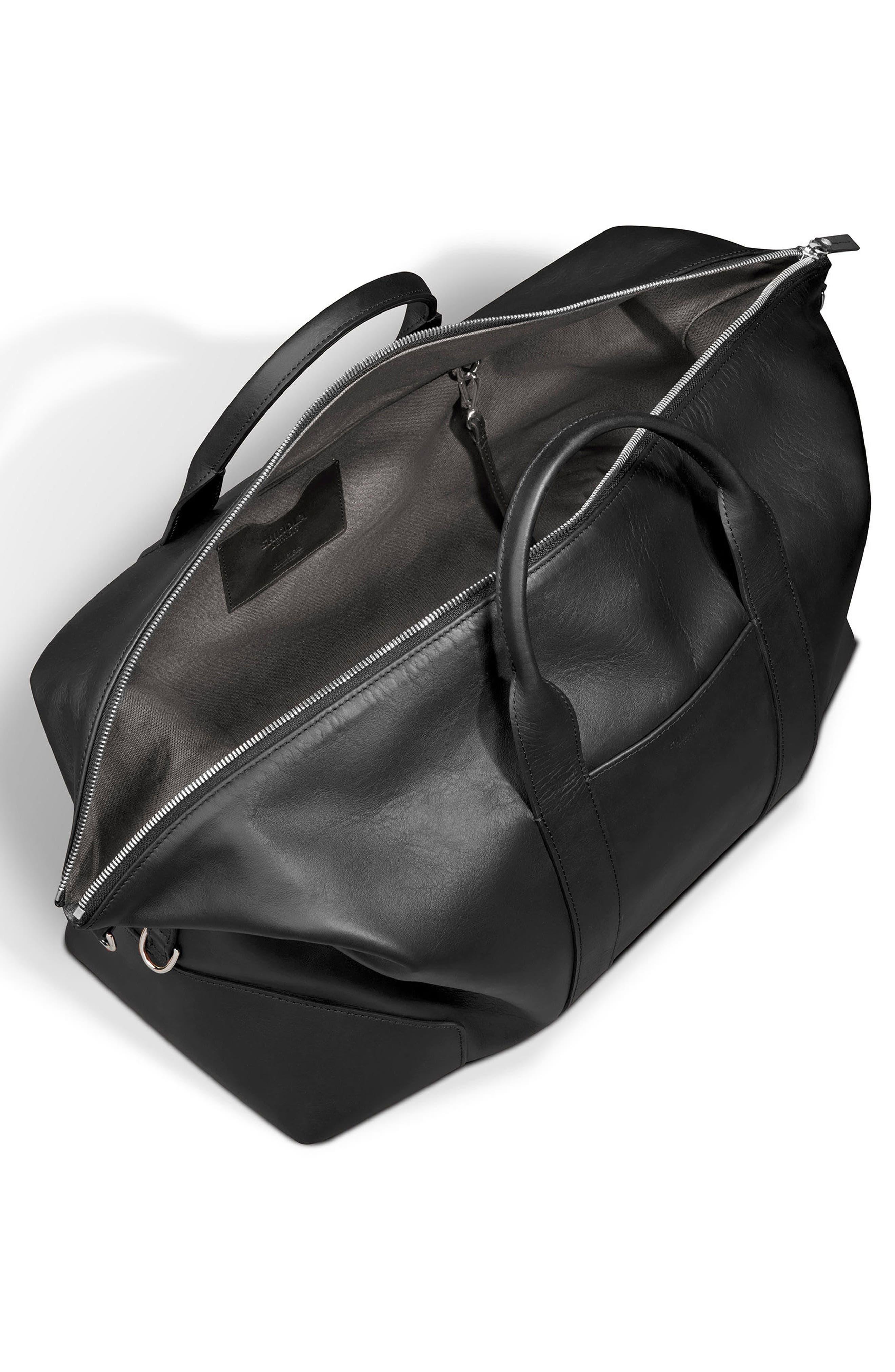 Signature Leather Duffel Bag,                             Alternate thumbnail 4, color,                             001