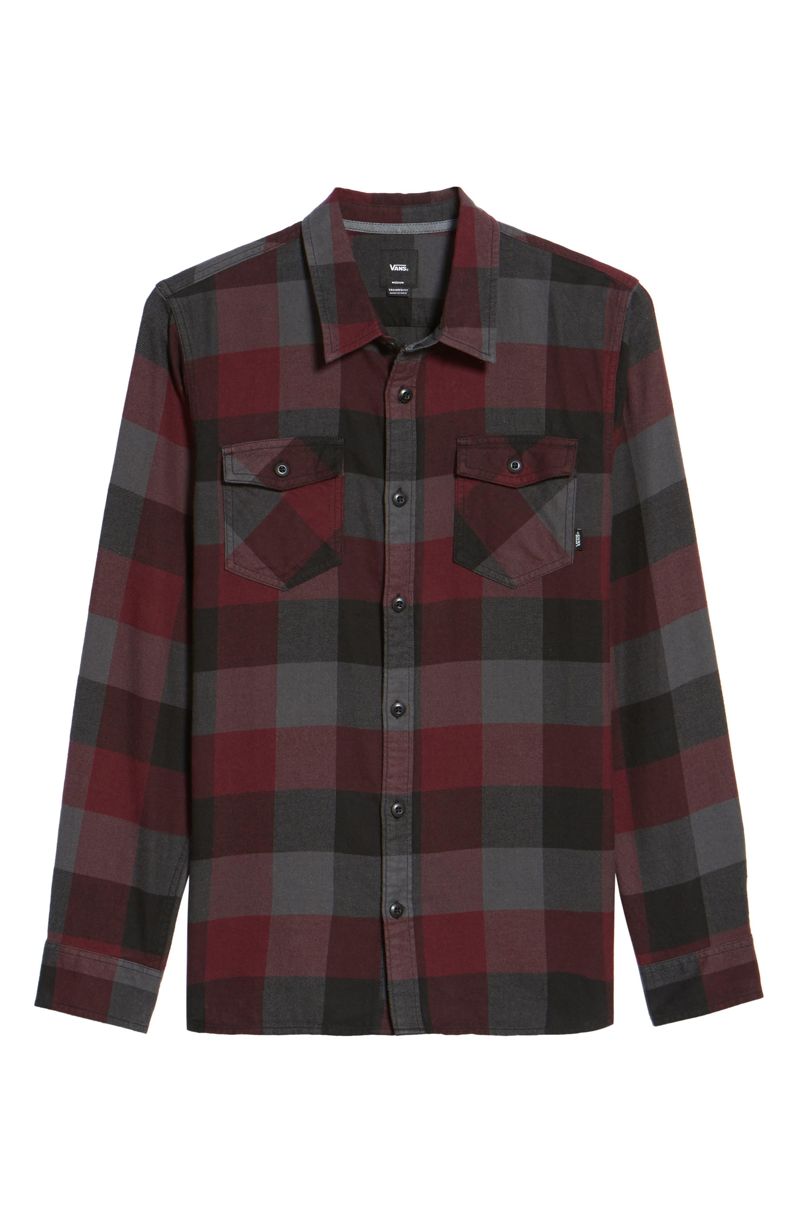Trim Fit Check Flannel Woven Shirt,                             Alternate thumbnail 28, color,