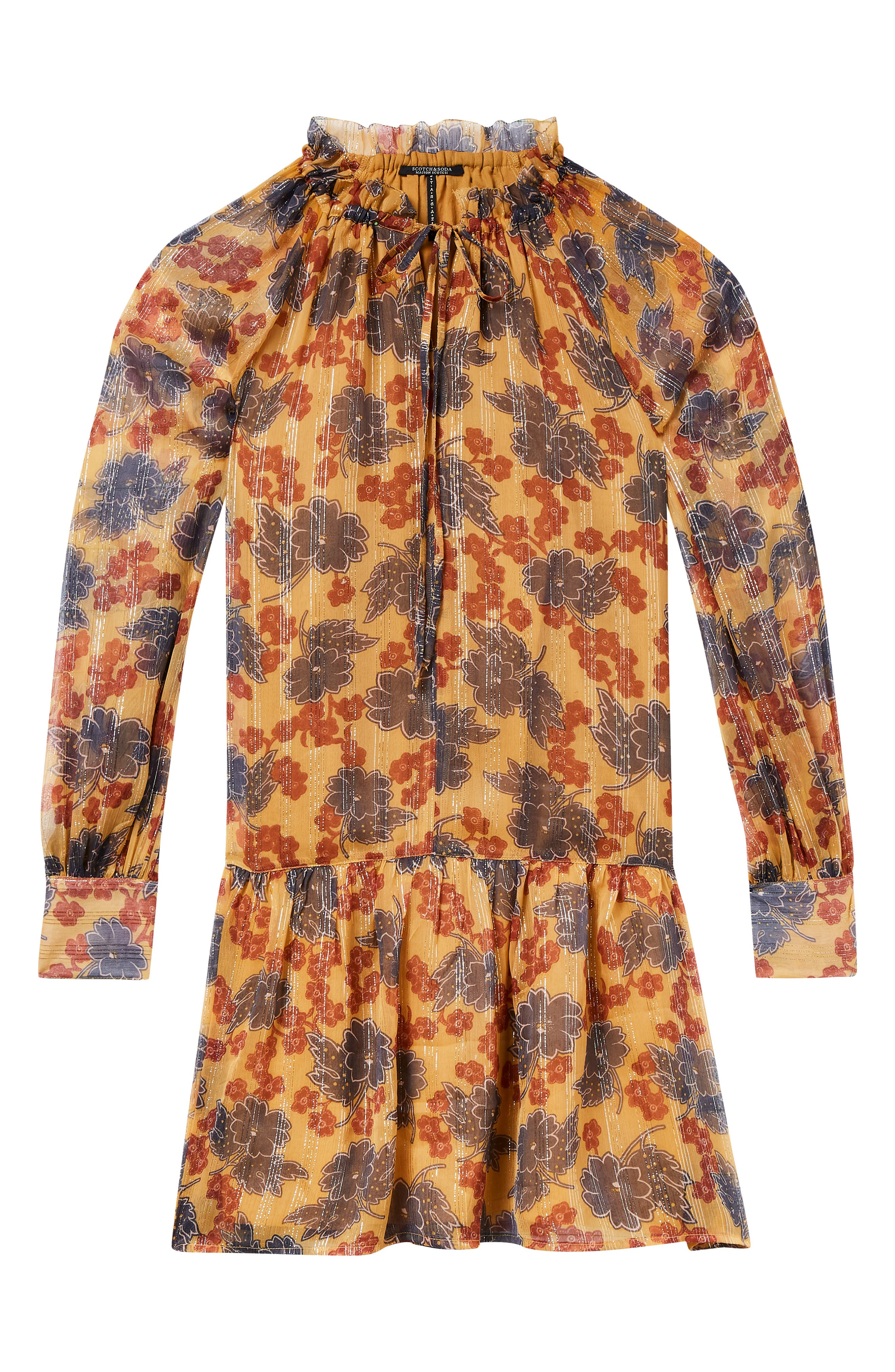 Metallic Stripe Floral Print Dress,                             Alternate thumbnail 6, color,                             YELLOW AND BURGUNDY
