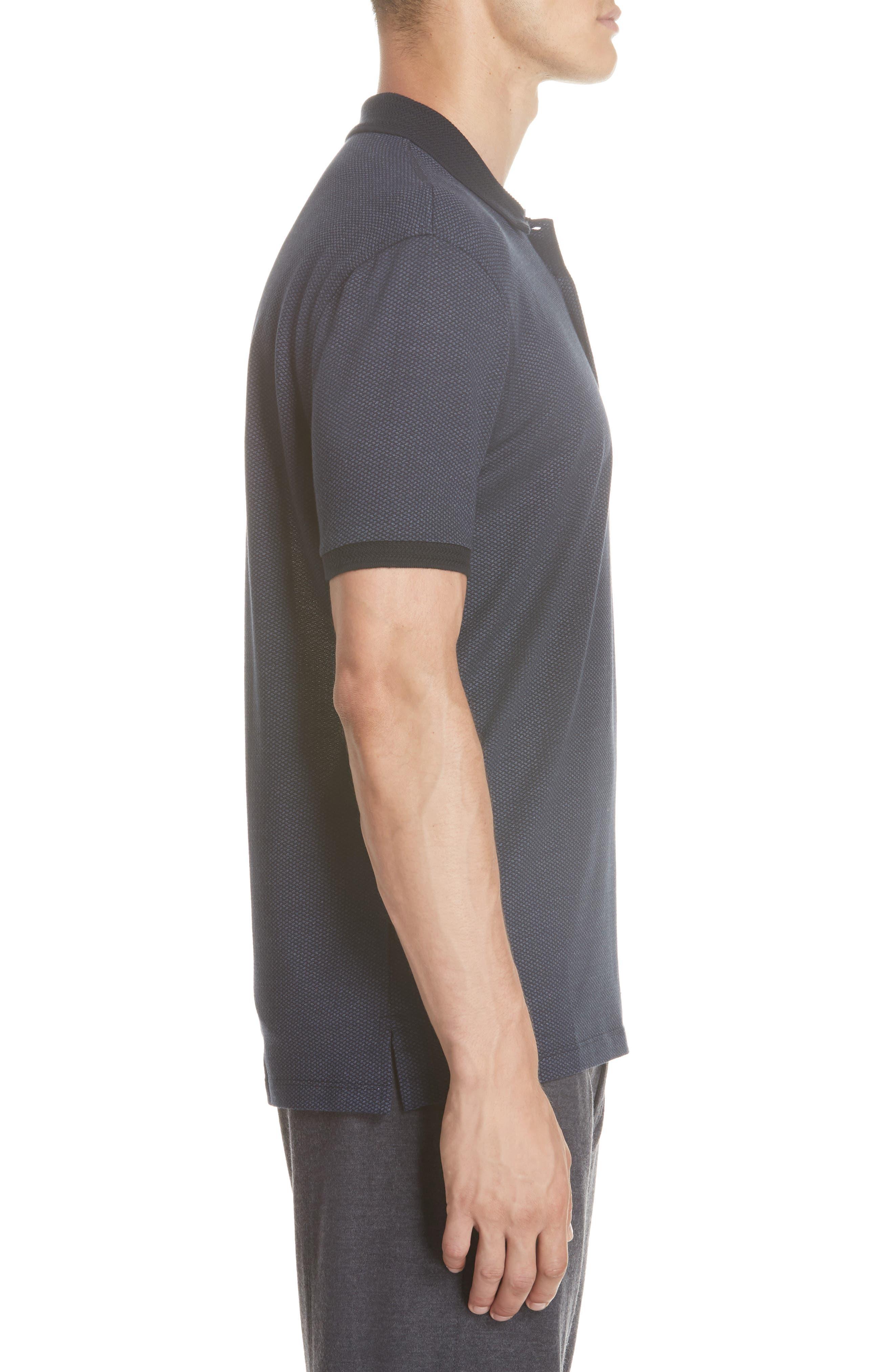 Cotton & Silk Polo Shirt,                             Alternate thumbnail 3, color,                             NAVY