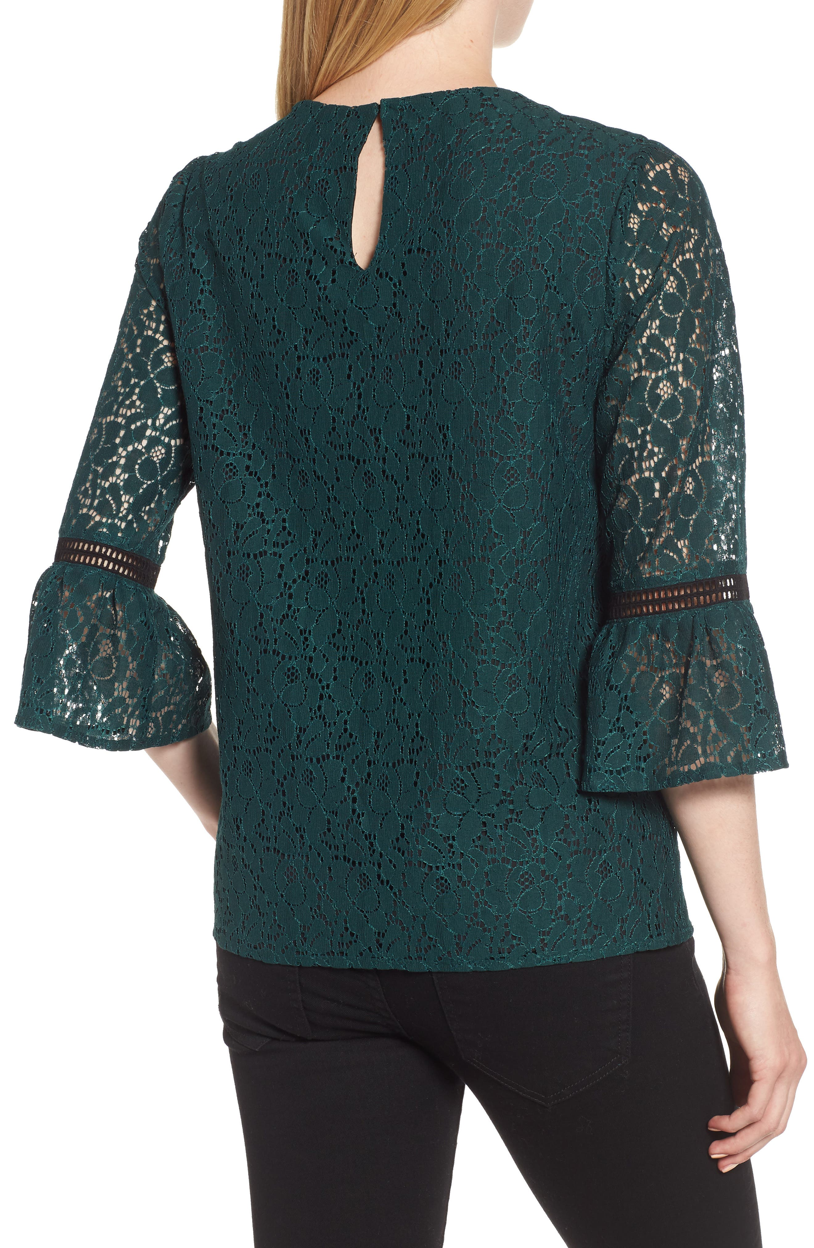 x Glam Squad Erin Allover Lace Bell Sleeve Top,                             Alternate thumbnail 3, color,                             GREEN
