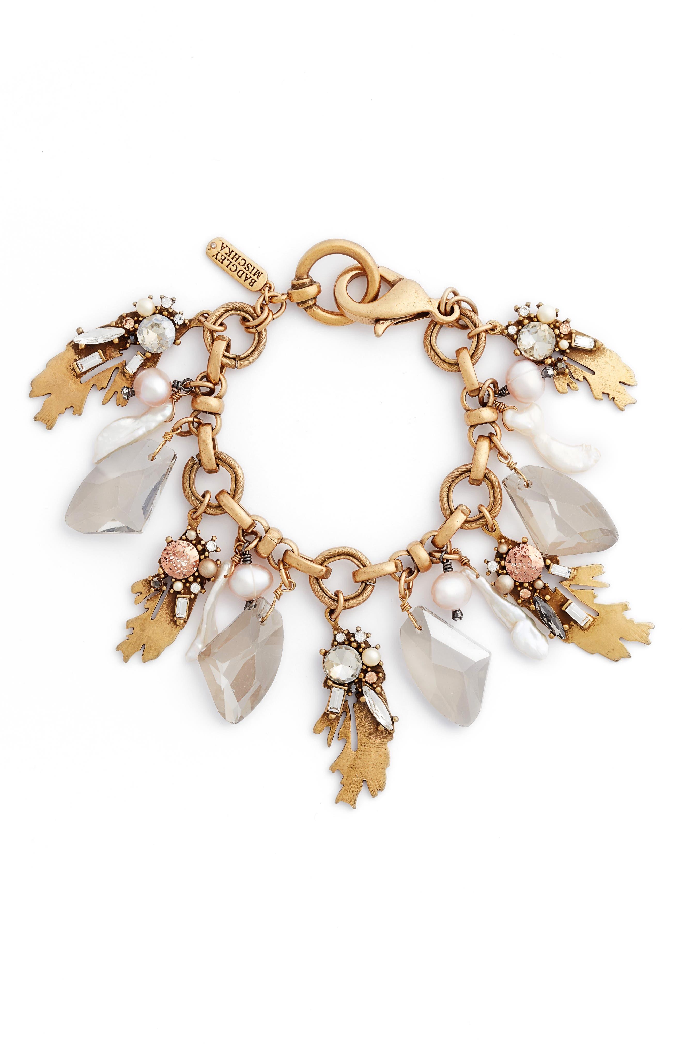 Crystal & Pearl Bracelet,                         Main,                         color, 710