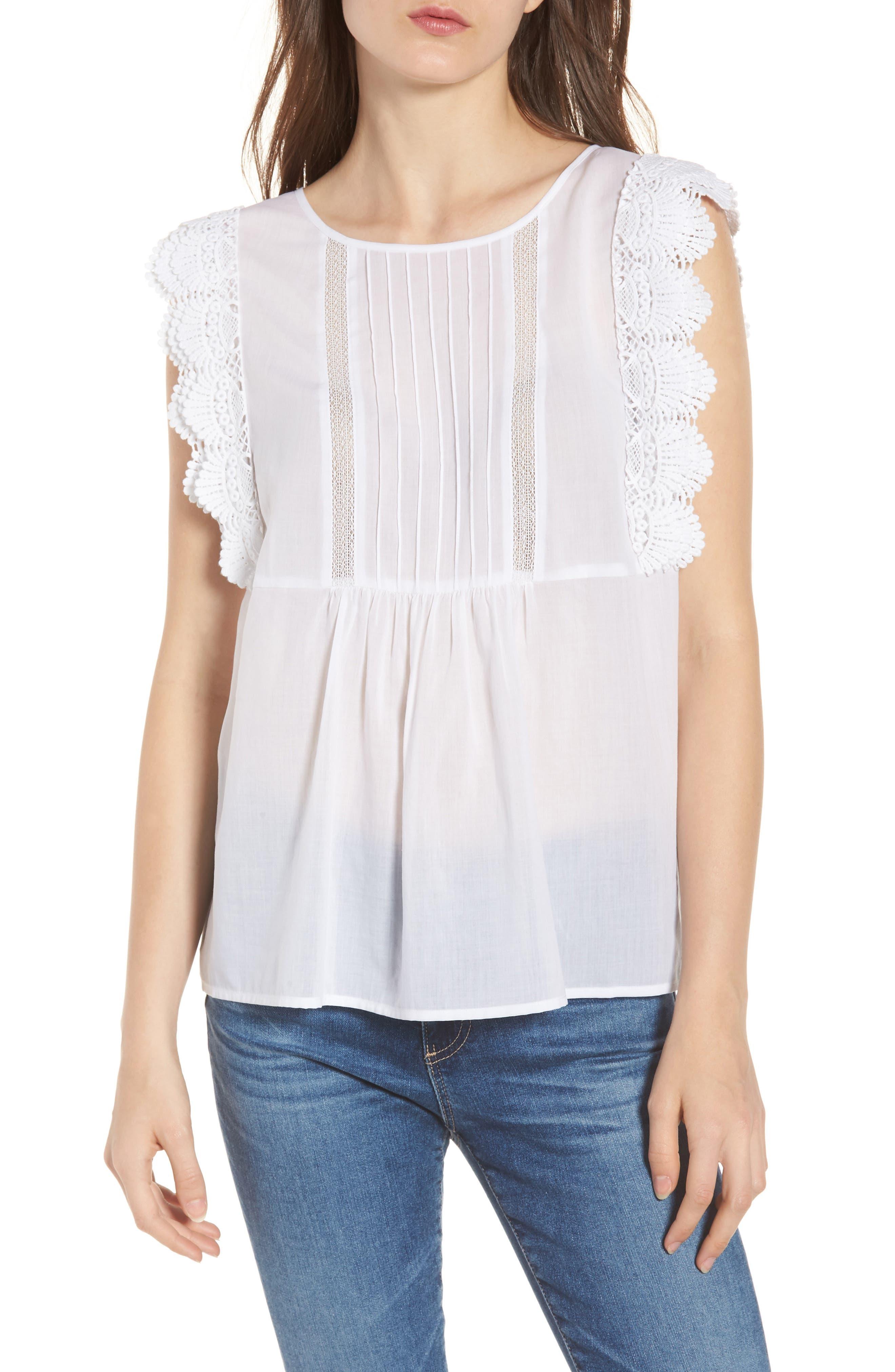 Lace Trim Top,                         Main,                         color, 100