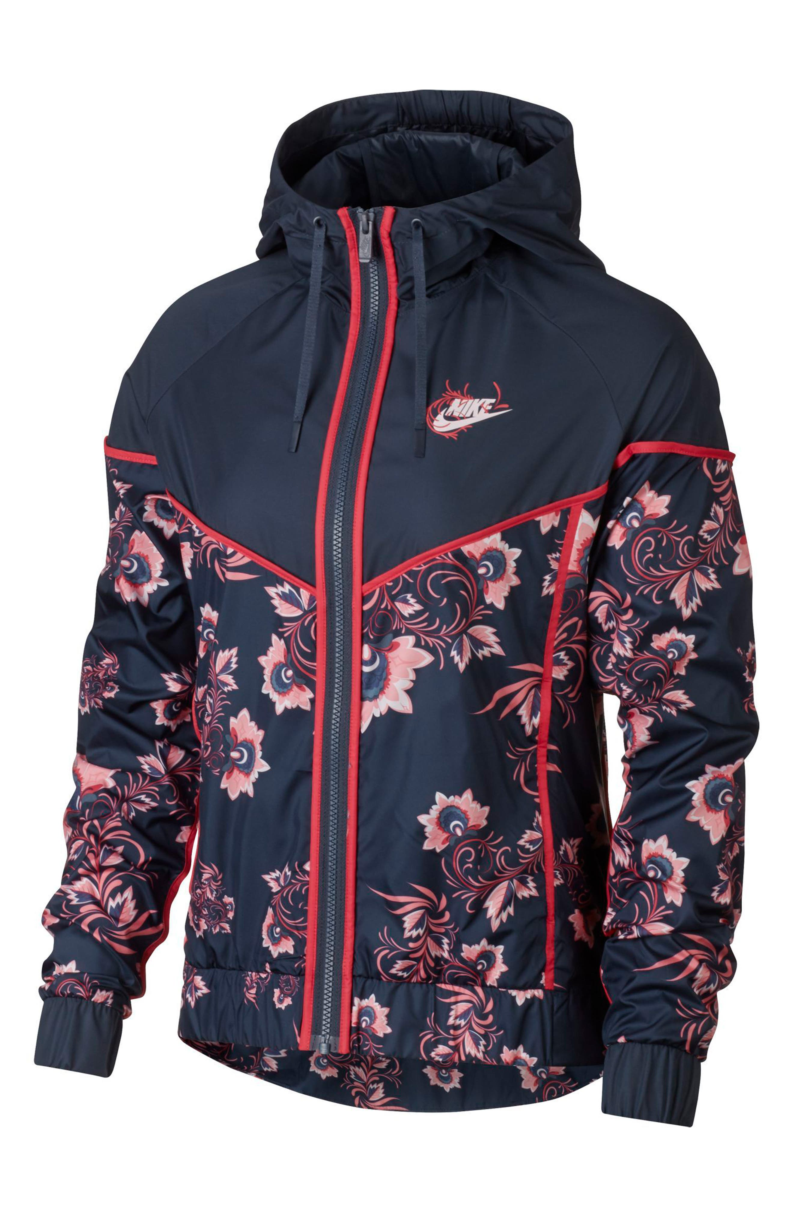 Sportswear Floral Print Track Jacket,                             Alternate thumbnail 7, color,