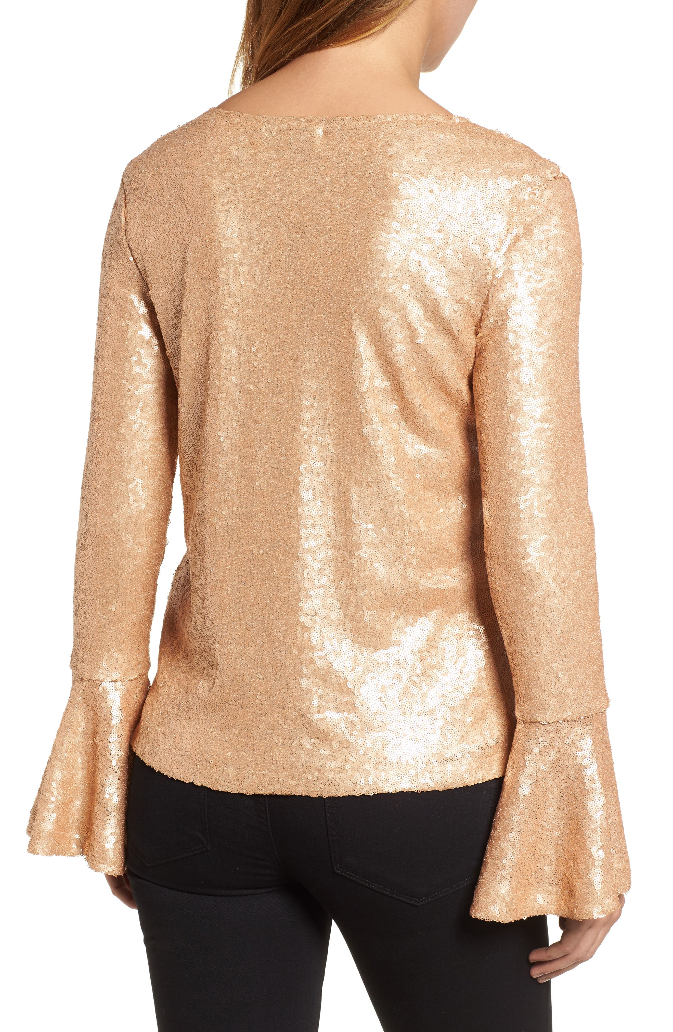 Flare Sleeve Sequin Top,                             Alternate thumbnail 4, color,