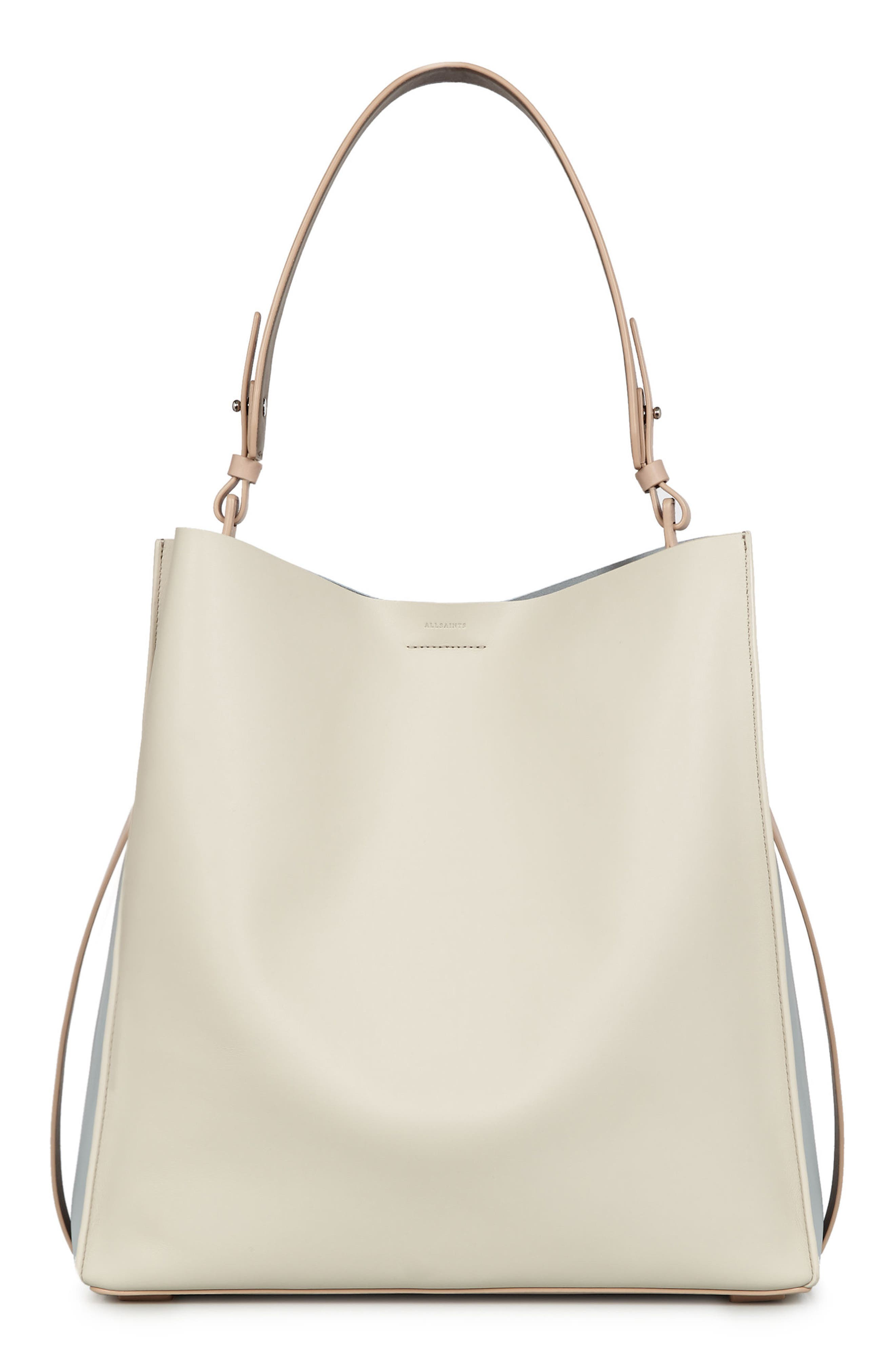 Paradise North/South Calfskin Leather Tote,                         Main,                         color, LAMB WHITE
