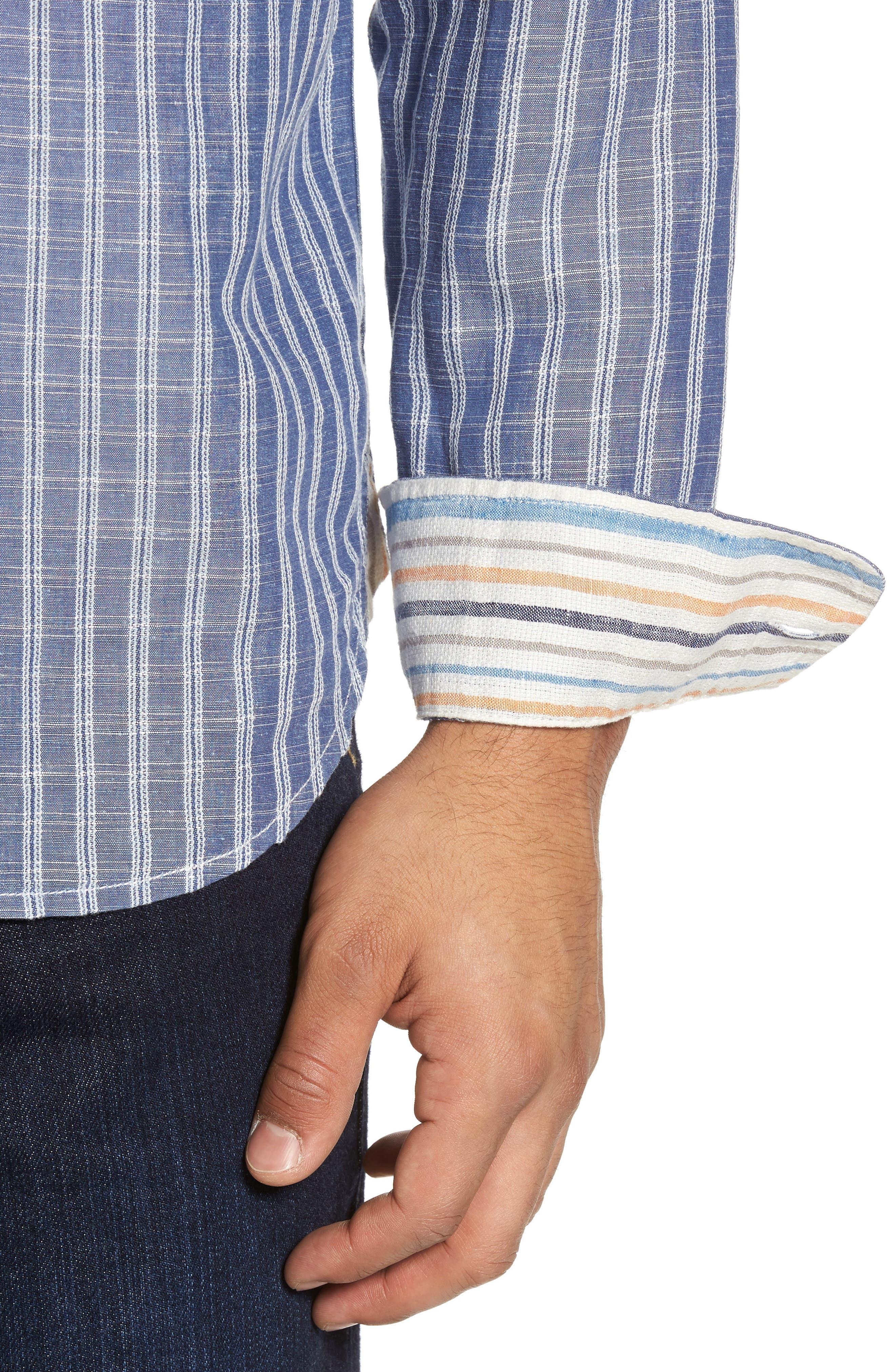Plaid Sand Linen Blend Sport Shirt,                             Alternate thumbnail 11, color,
