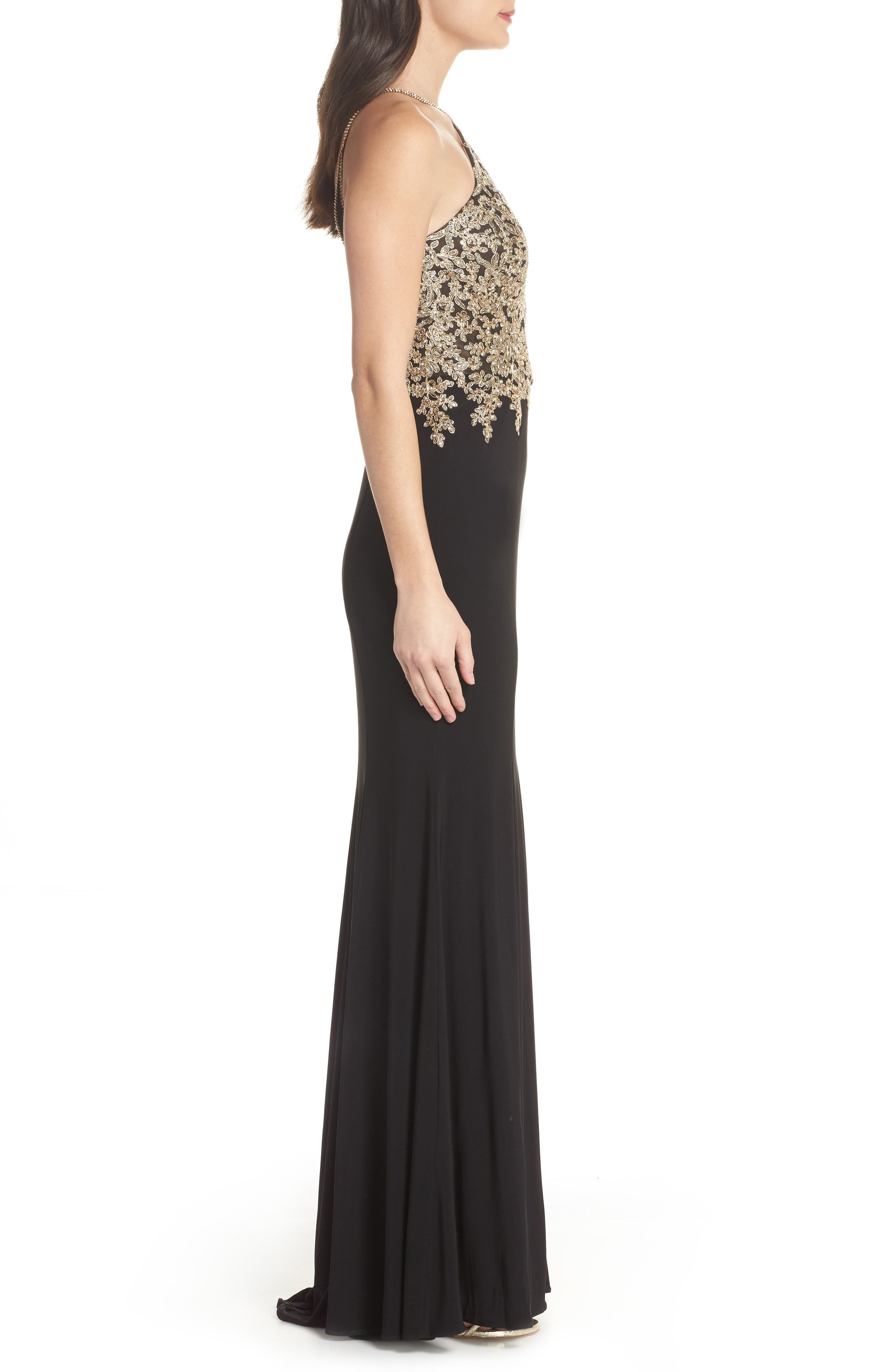 XSCAPE,                             Gold Embroidery Halter Neck Gown,                             Alternate thumbnail 3, color,                             001
