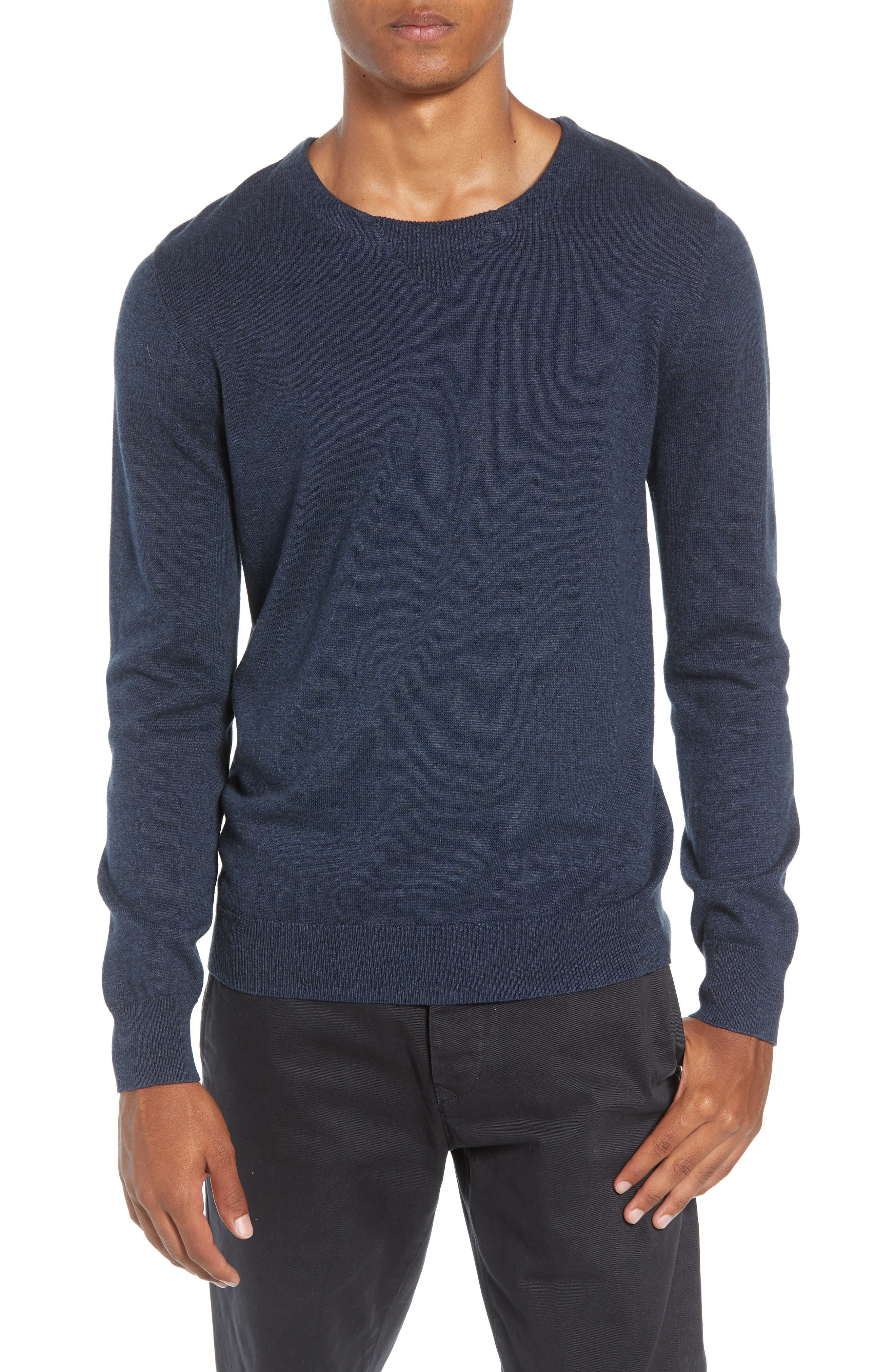 McGill Slim Fit Crewneck Sweater,                             Main thumbnail 1, color,                             HEATHER NAVY