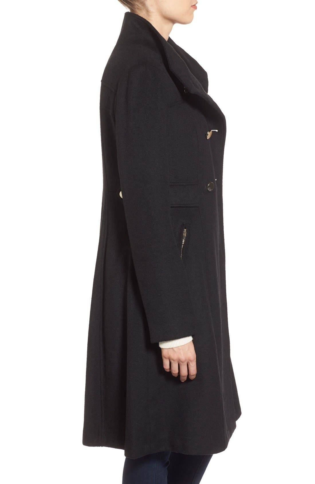 Wool Blend Long Military Coat,                             Alternate thumbnail 4, color,                             001