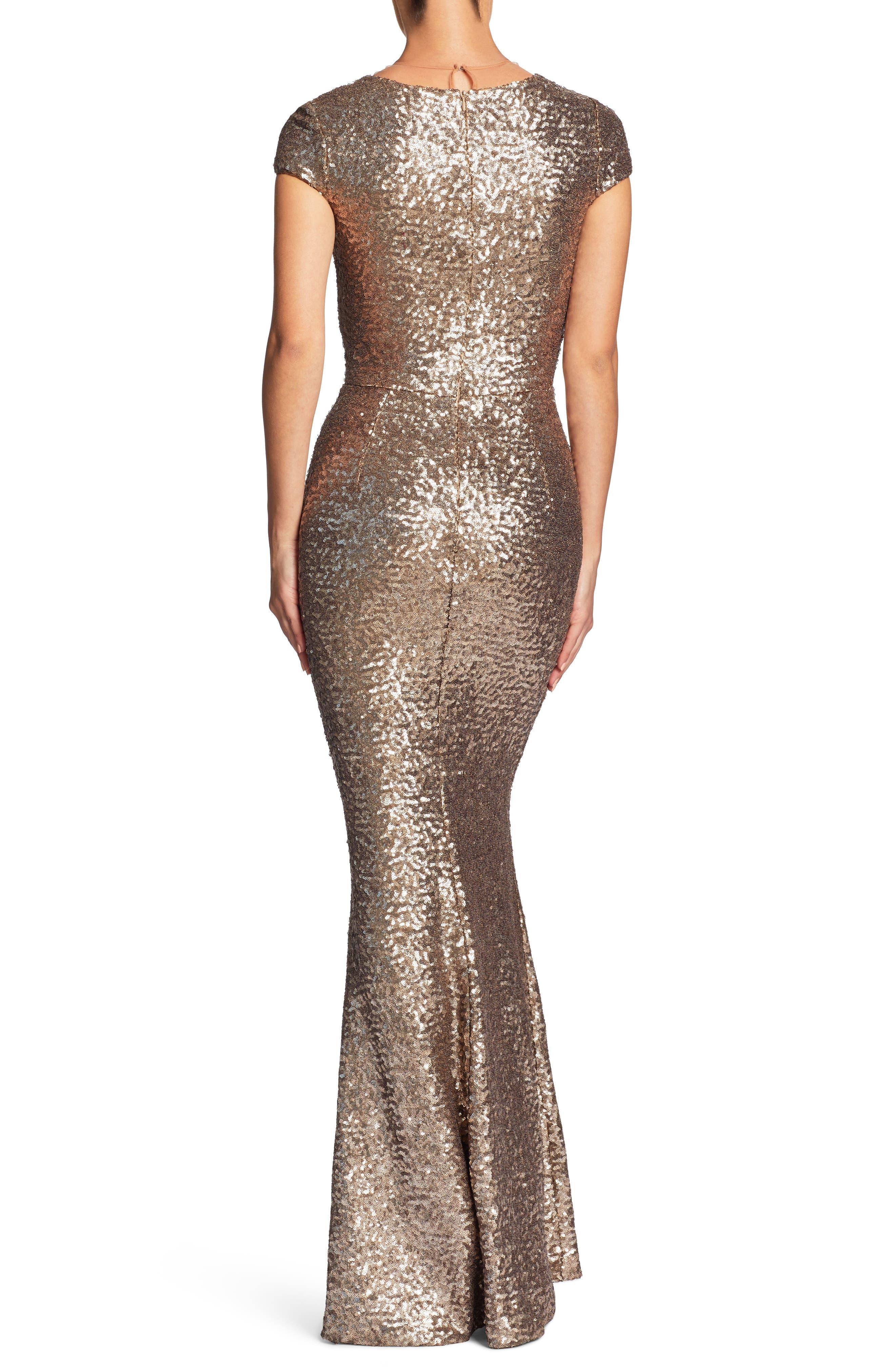Michelle Sequin Gown,                             Alternate thumbnail 2, color,                             BRASS