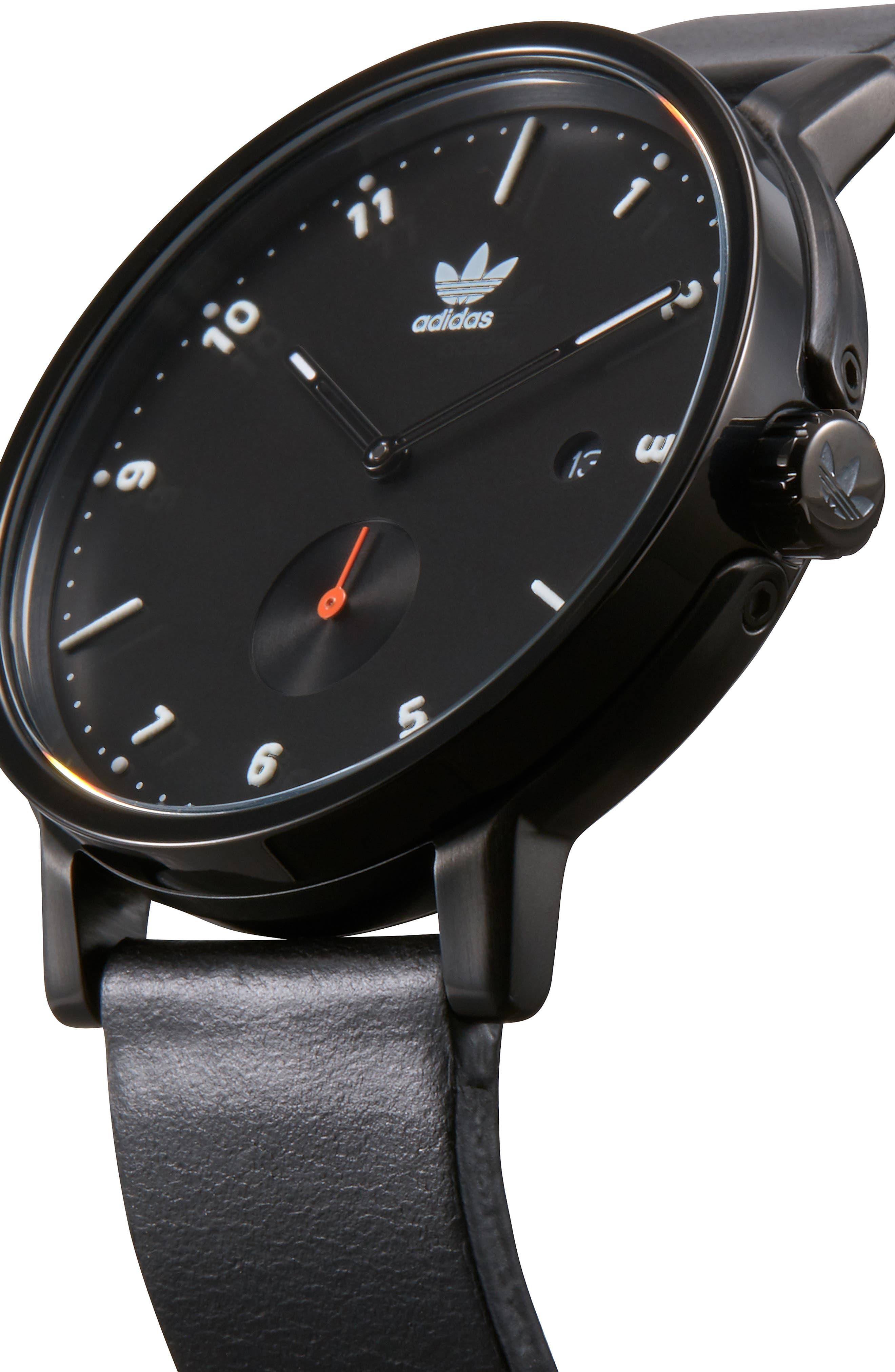 ADIDAS,                             District Leather Strap Watch, 40mm,                             Alternate thumbnail 4, color,                             BLACK/ ORANGE/ BLACK