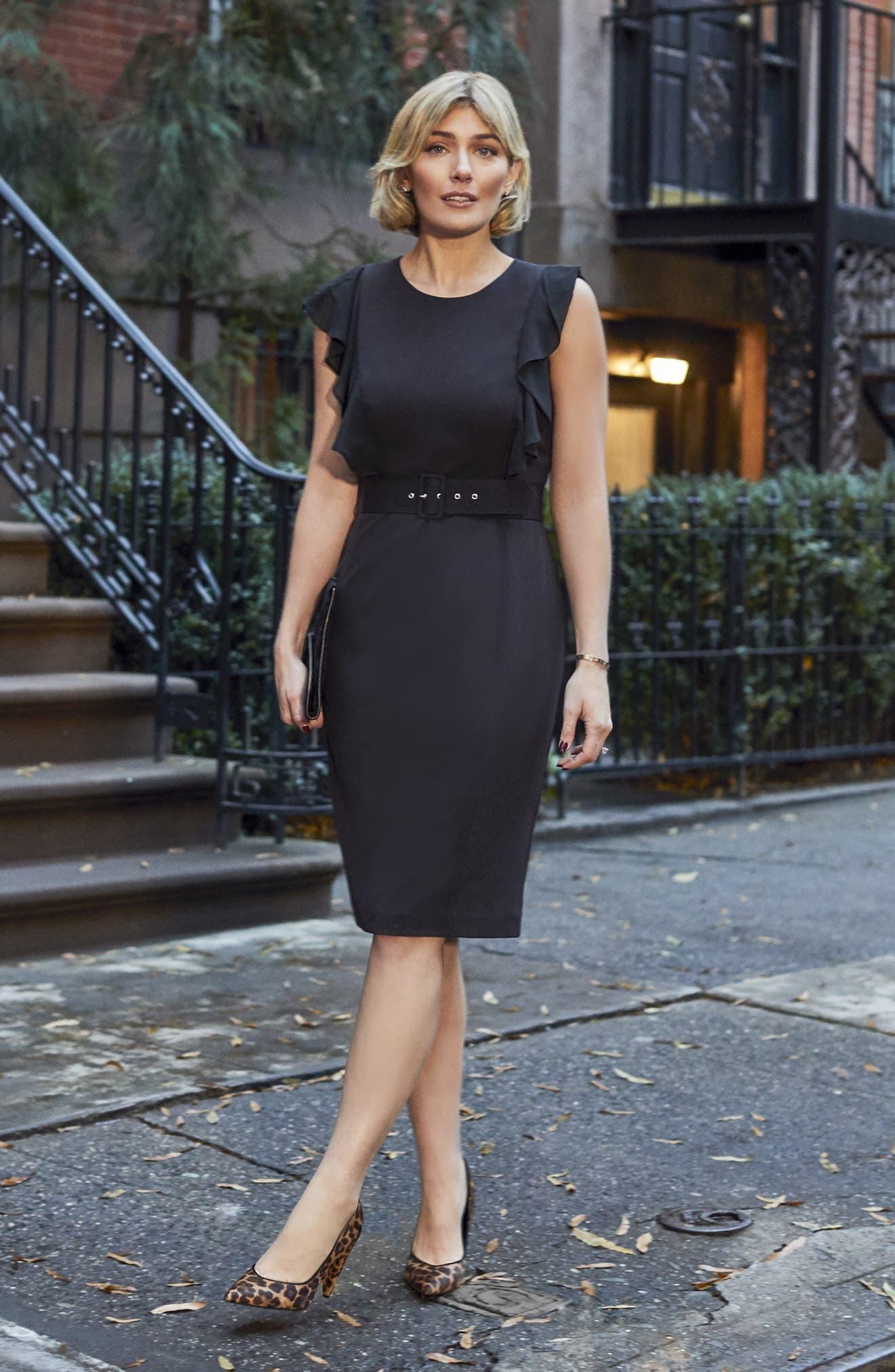 HARPER ROSE,                             Belted Sheath Dress,                             Alternate thumbnail 8, color,                             BLACK