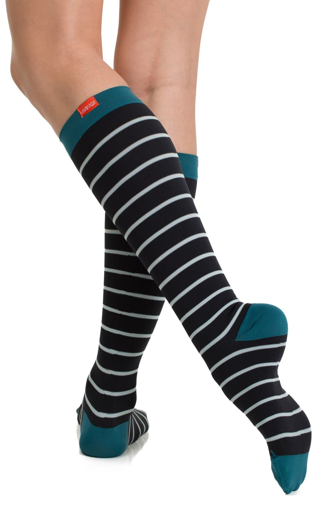 Nautical Stripe Graduated Compression Trouser Socks,                             Alternate thumbnail 6, color,                             001