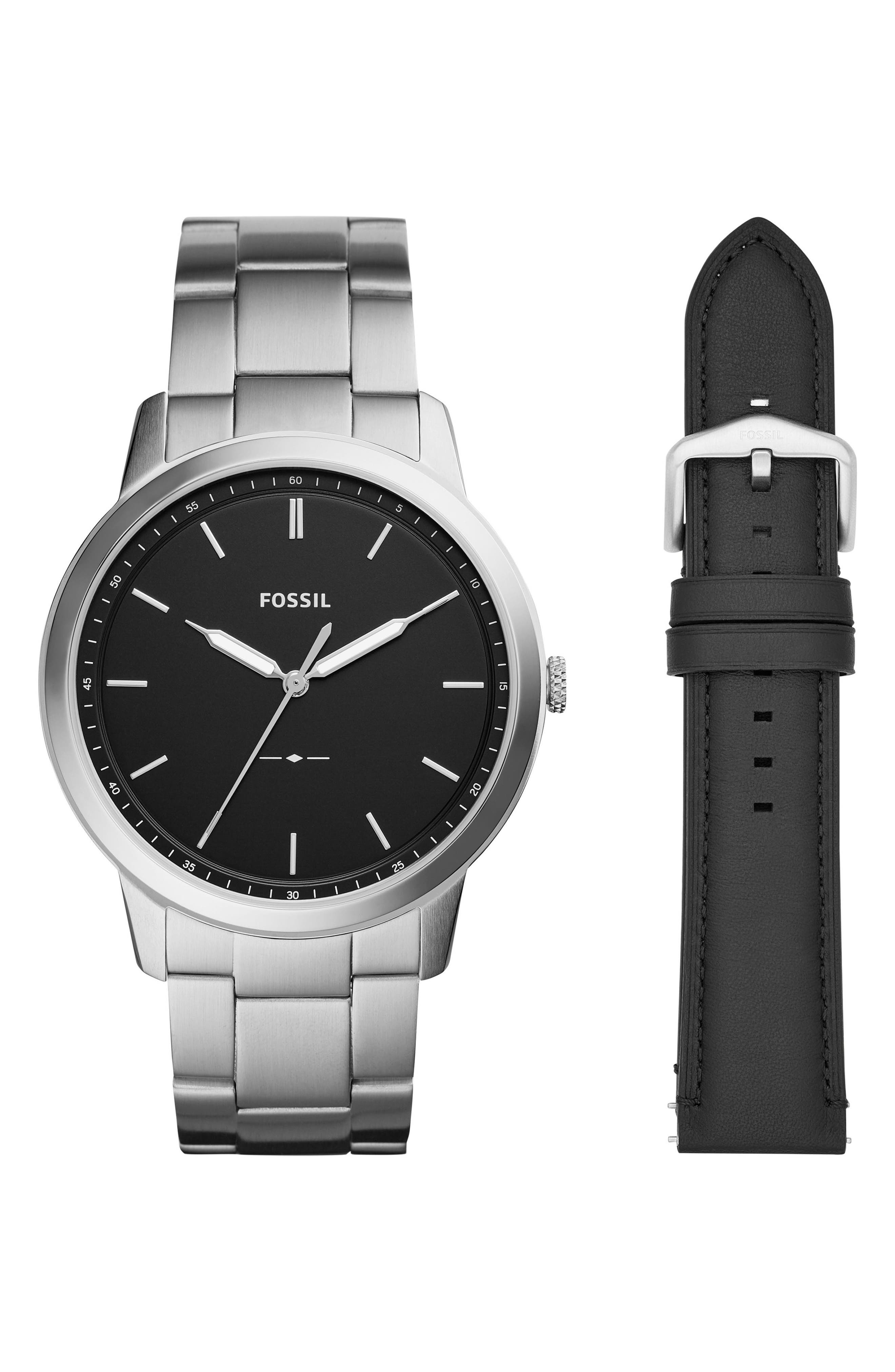 FOSSIL Minimalist Bracelet Watch & Leather Strap Gift Set, 44mm, Main, color, 040