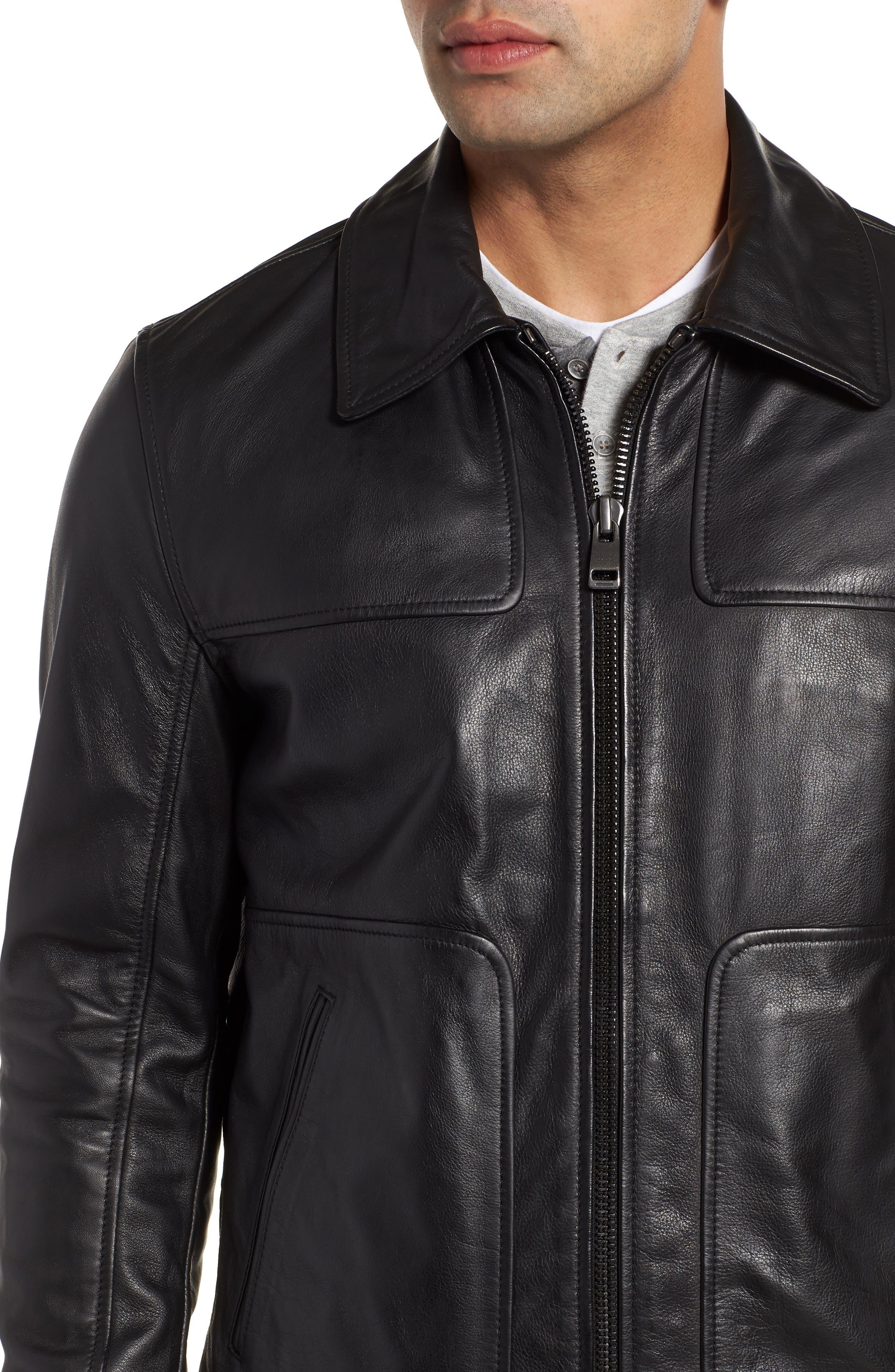 ANDREW MARC,                             Vaughn Shirt Collar Leather Bomber Jacket,                             Alternate thumbnail 4, color,                             BLACK