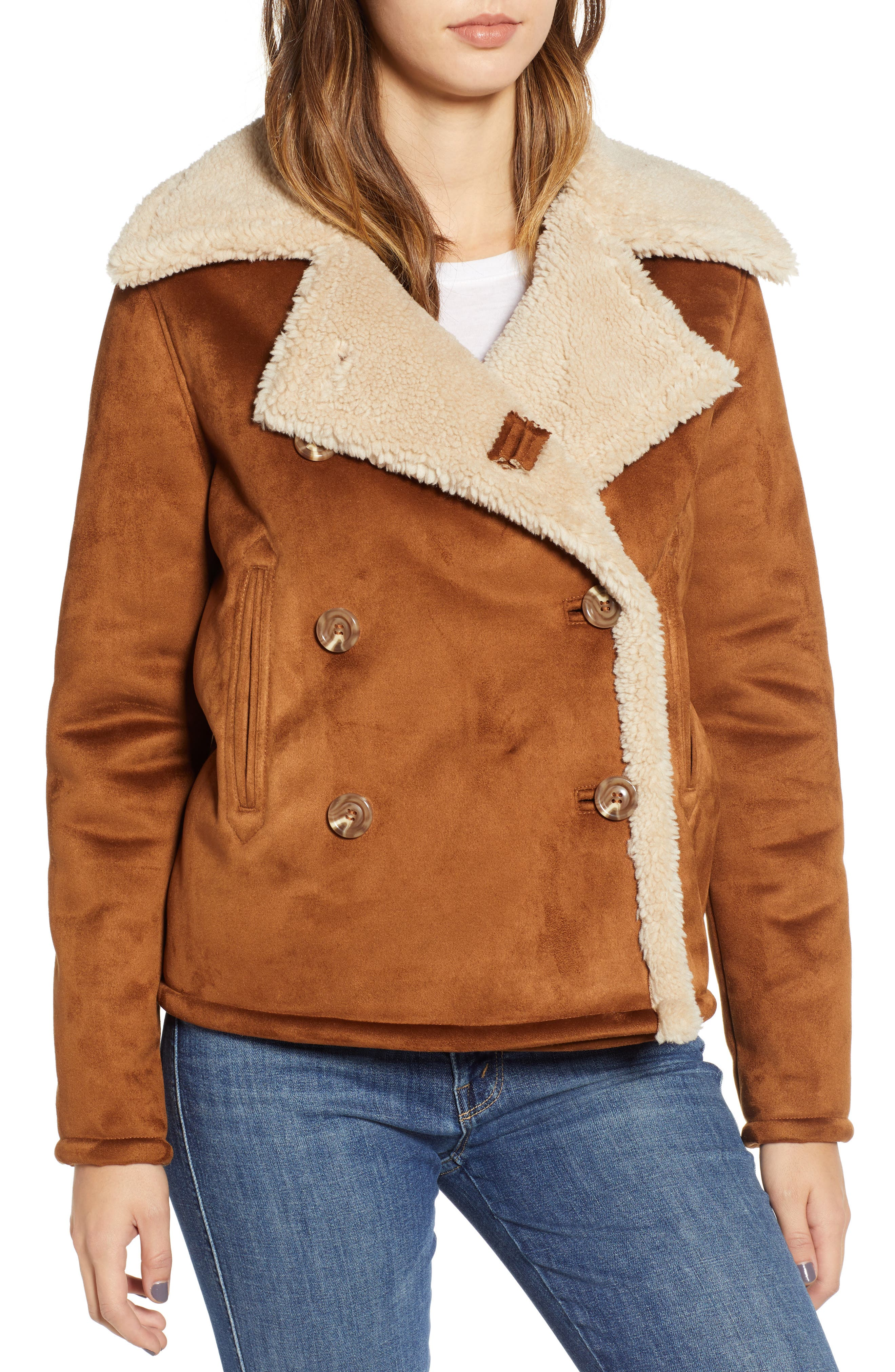 The Shrunken Faux Shearling Peacoat,                             Alternate thumbnail 4, color,                             TOAST TWILL
