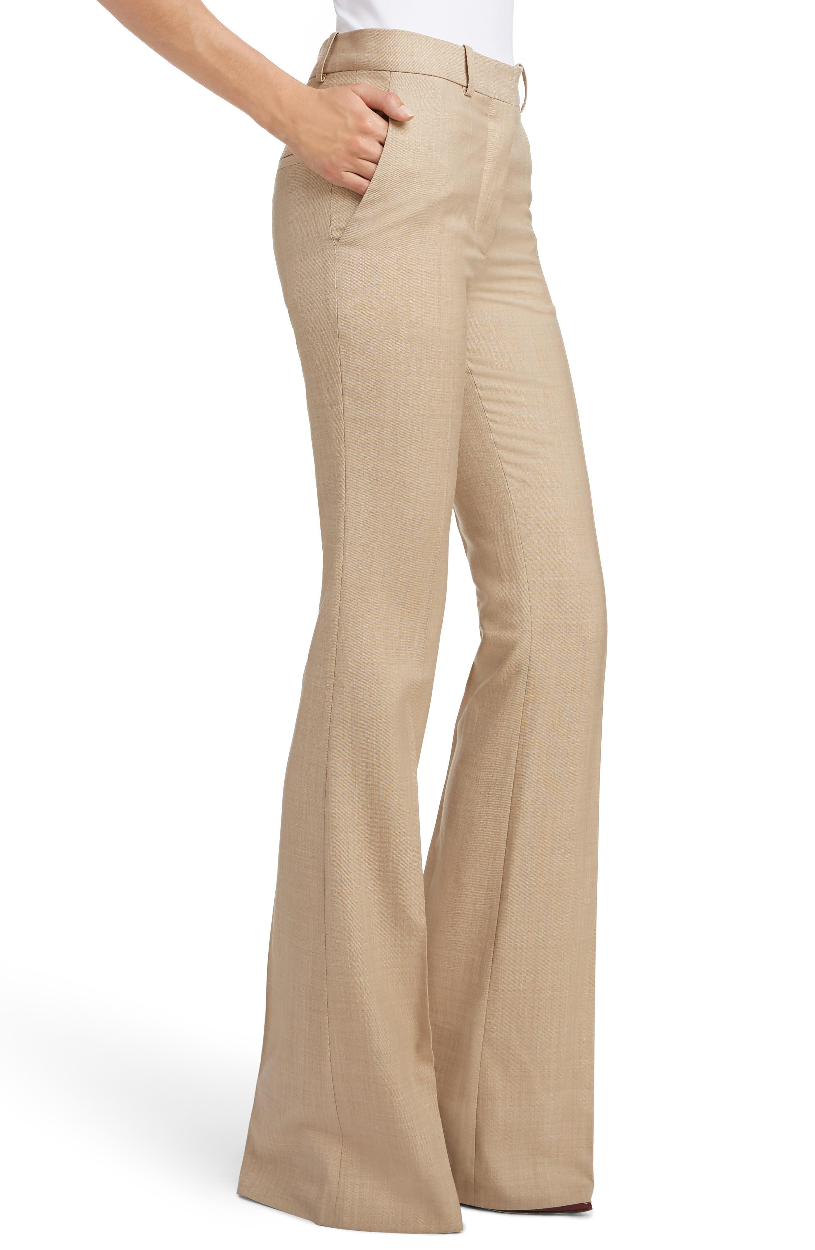 High Waist Flare Wool Pants,                             Alternate thumbnail 4, color,                             LIGHT BEIGE-WHITE