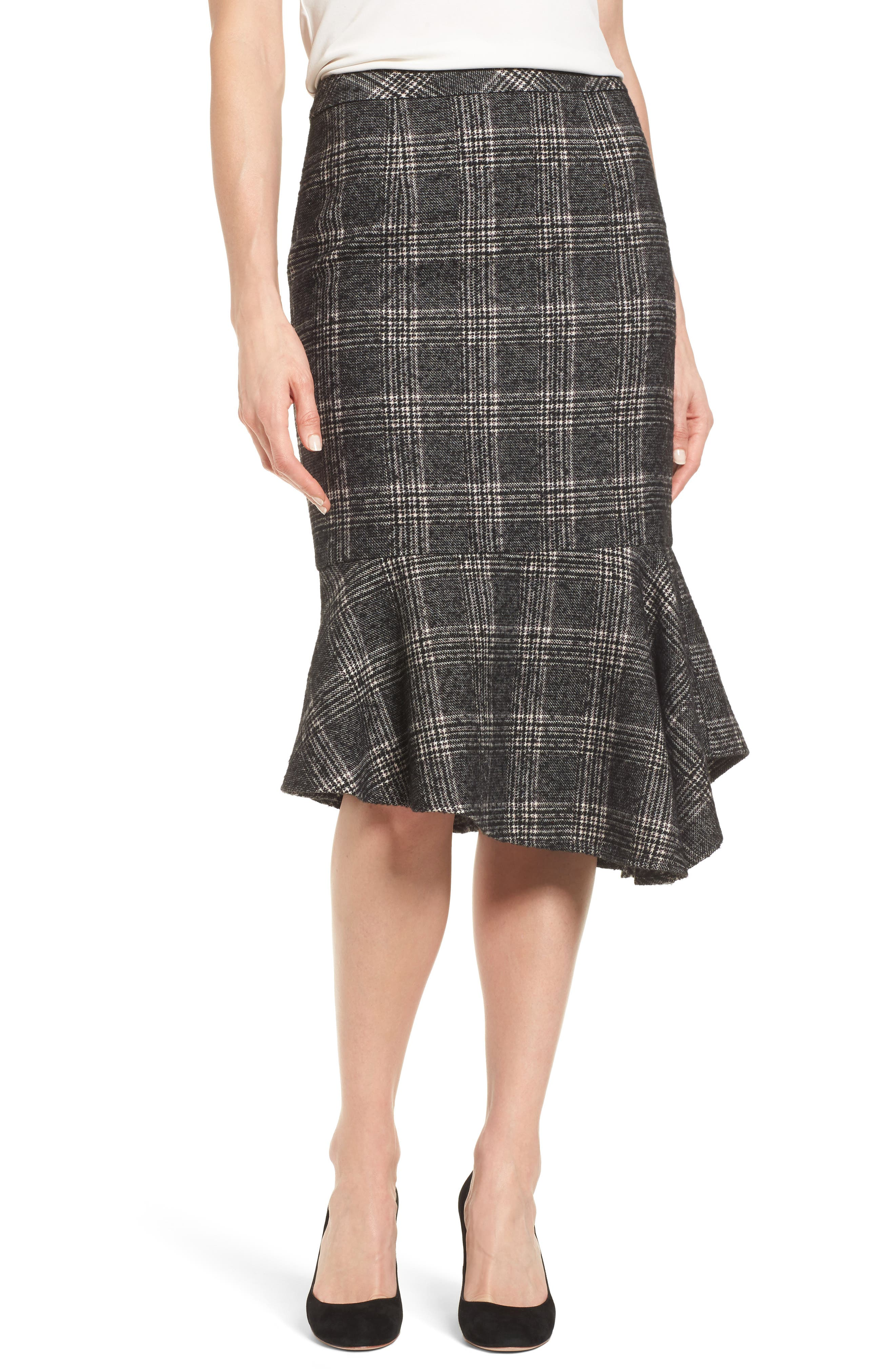 Asymmetrical Ruffle Hem Skirt,                             Main thumbnail 1, color,                             001