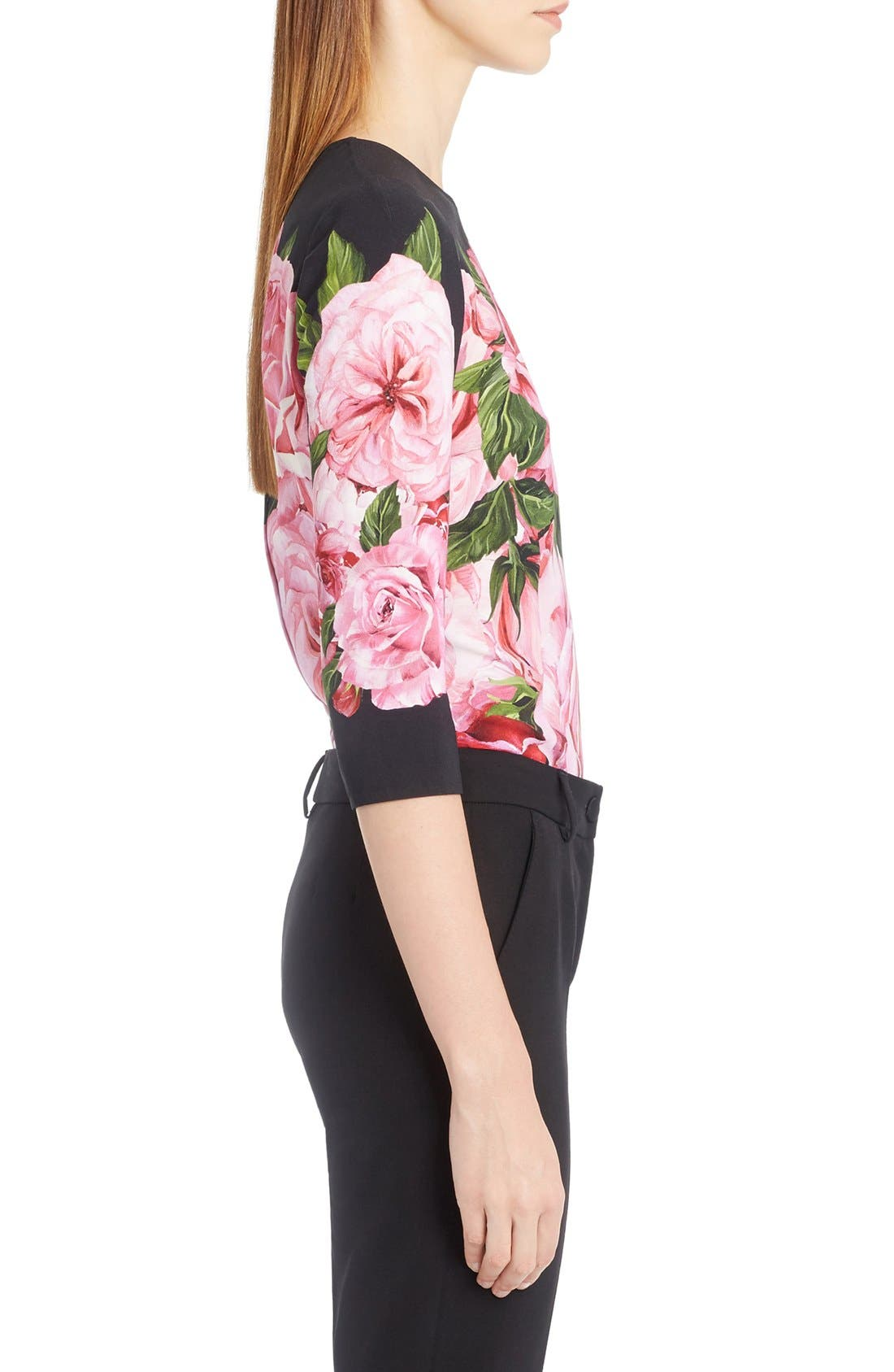 Rose Print Cady Top,                             Alternate thumbnail 4, color,                             650